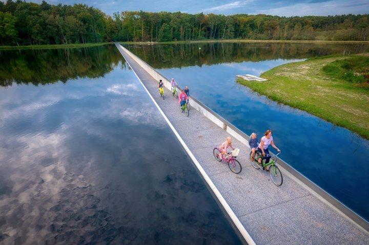 Cycling through water in Limburg