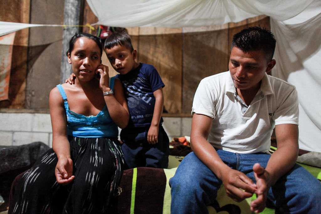 David Xol, his wife Florinda Bol and one of their sons at their home in San Miguel Limón, Guatemala. Xol made his way across Mexico with his third son, 7-year-old Byron, but was later deported back to Guatemala while Byron, now 8, remains in a shelter in Baytown.