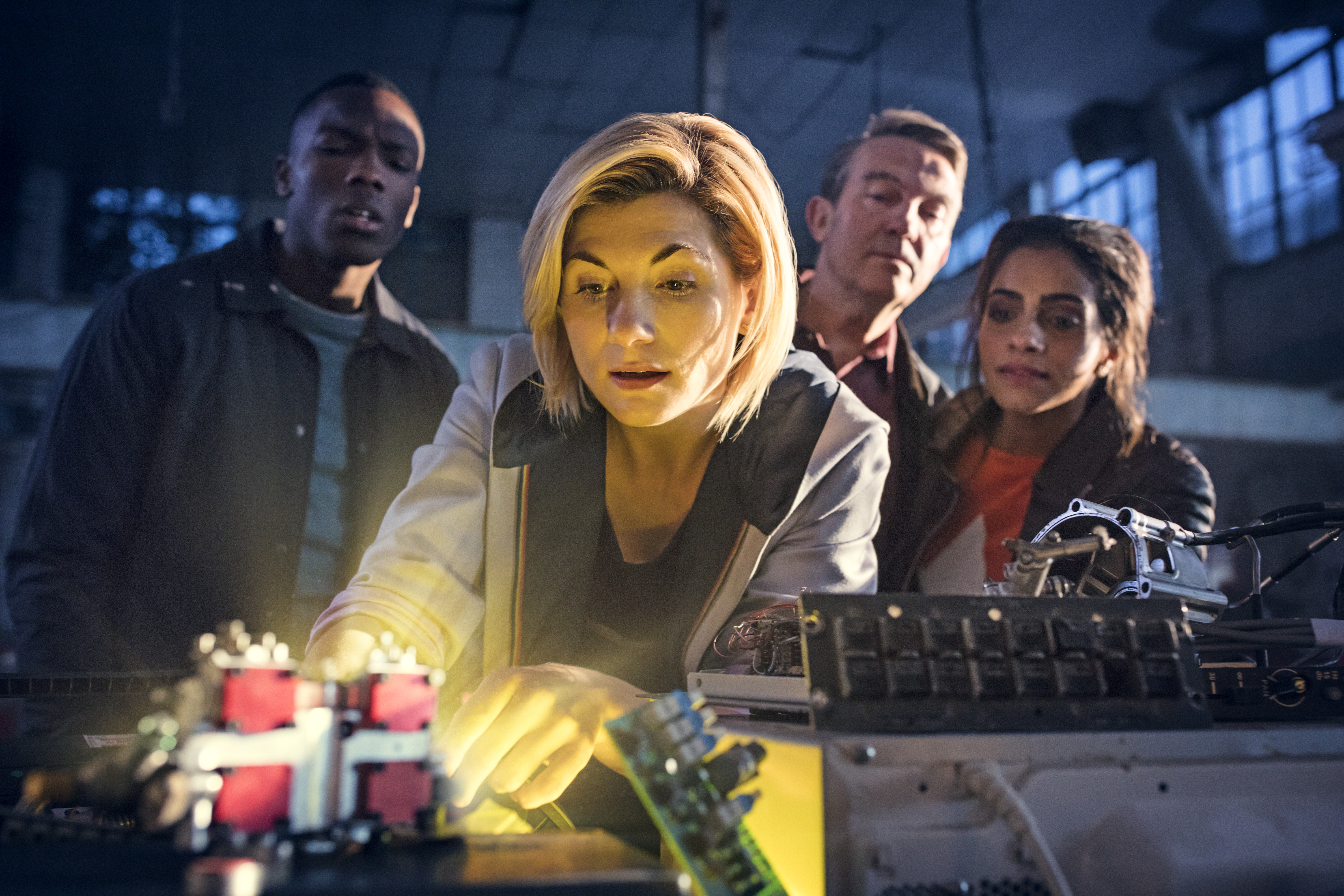 Tosin Cole, Jodie Whittaker, Bradley Walsh and Mandip Gill in Doctor Who