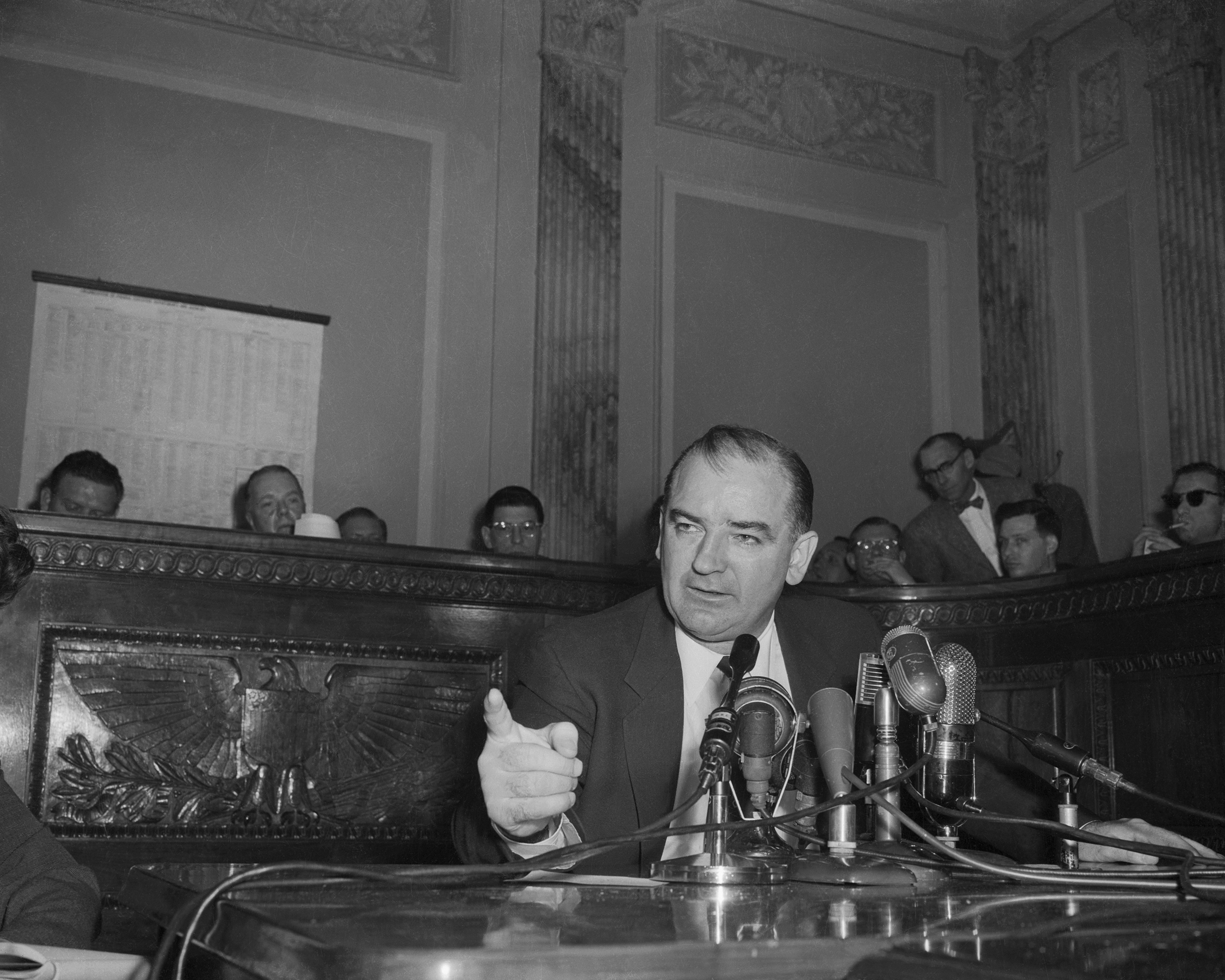 Senator Joseph R. McCarthy, chairman of the Government Committee on Operations of the Senate, comments on the latest developments in his dispute with the White House and Arm Secretary Robert T. Stevens on Feb 26, 1954.