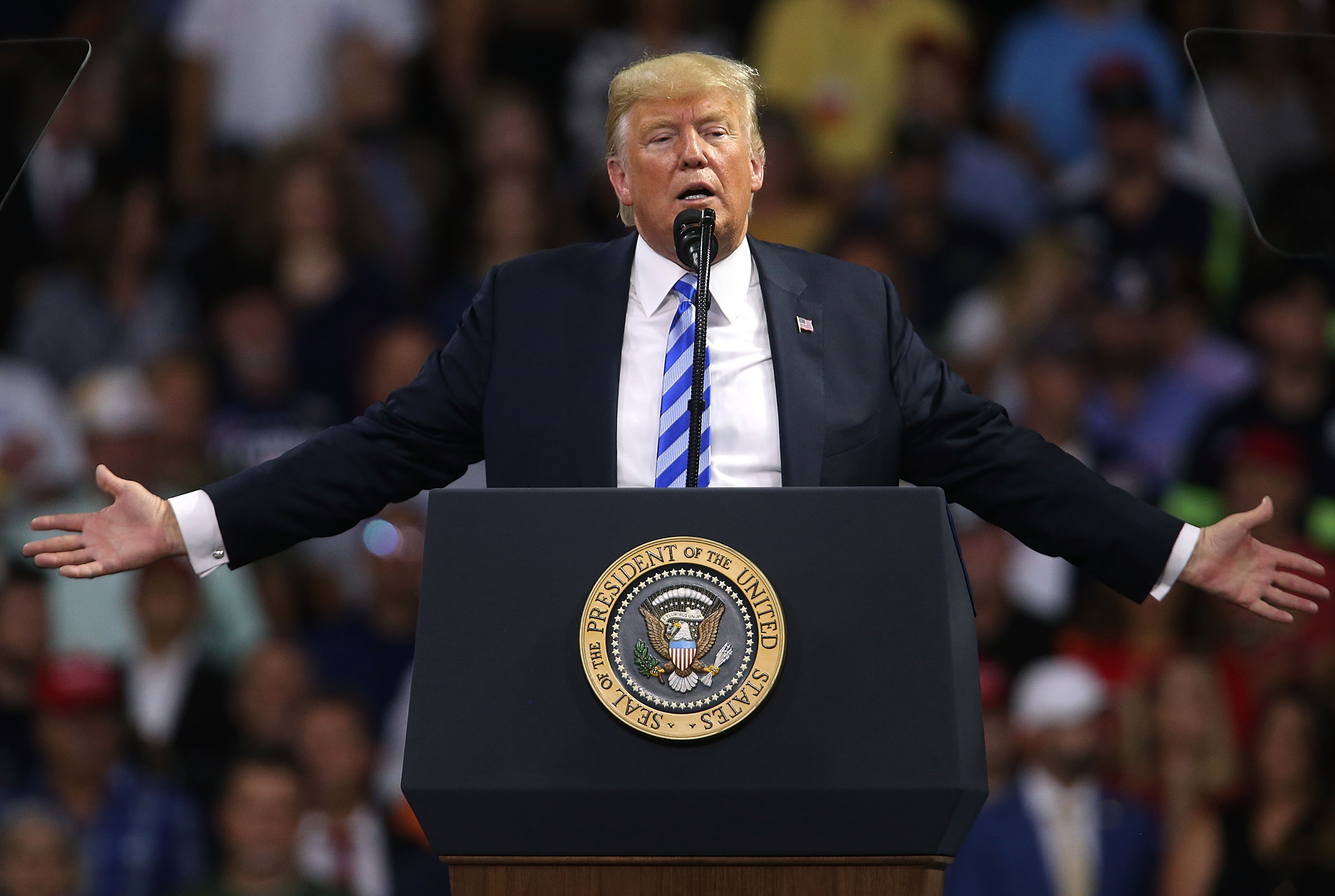 President Donald Trump speaks at a rally on August 21, 2018 in Charleston, W.Va.