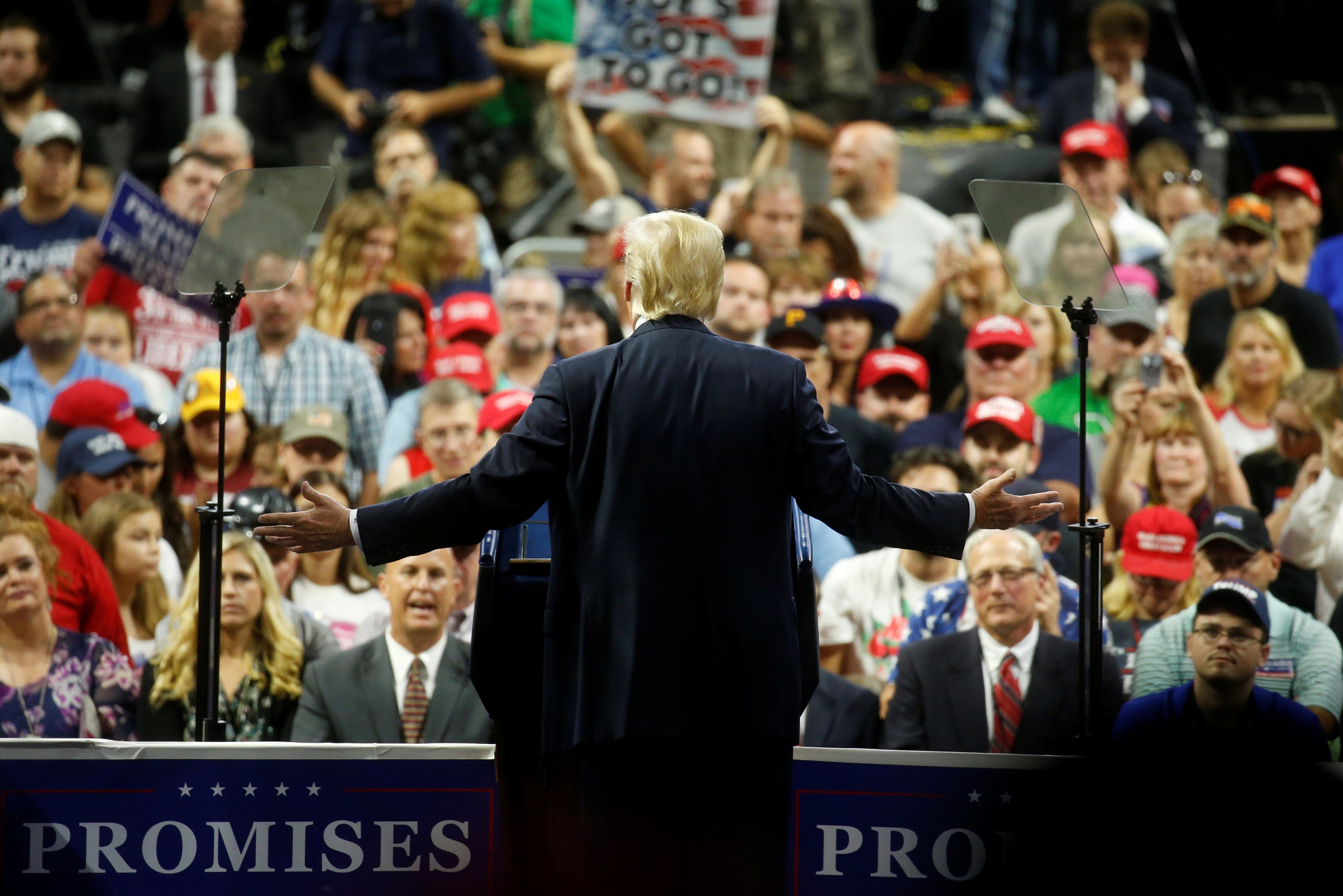 Trump at an Aug. 21 rally in Charleston, W.Va., hours after the Cohen bombshell