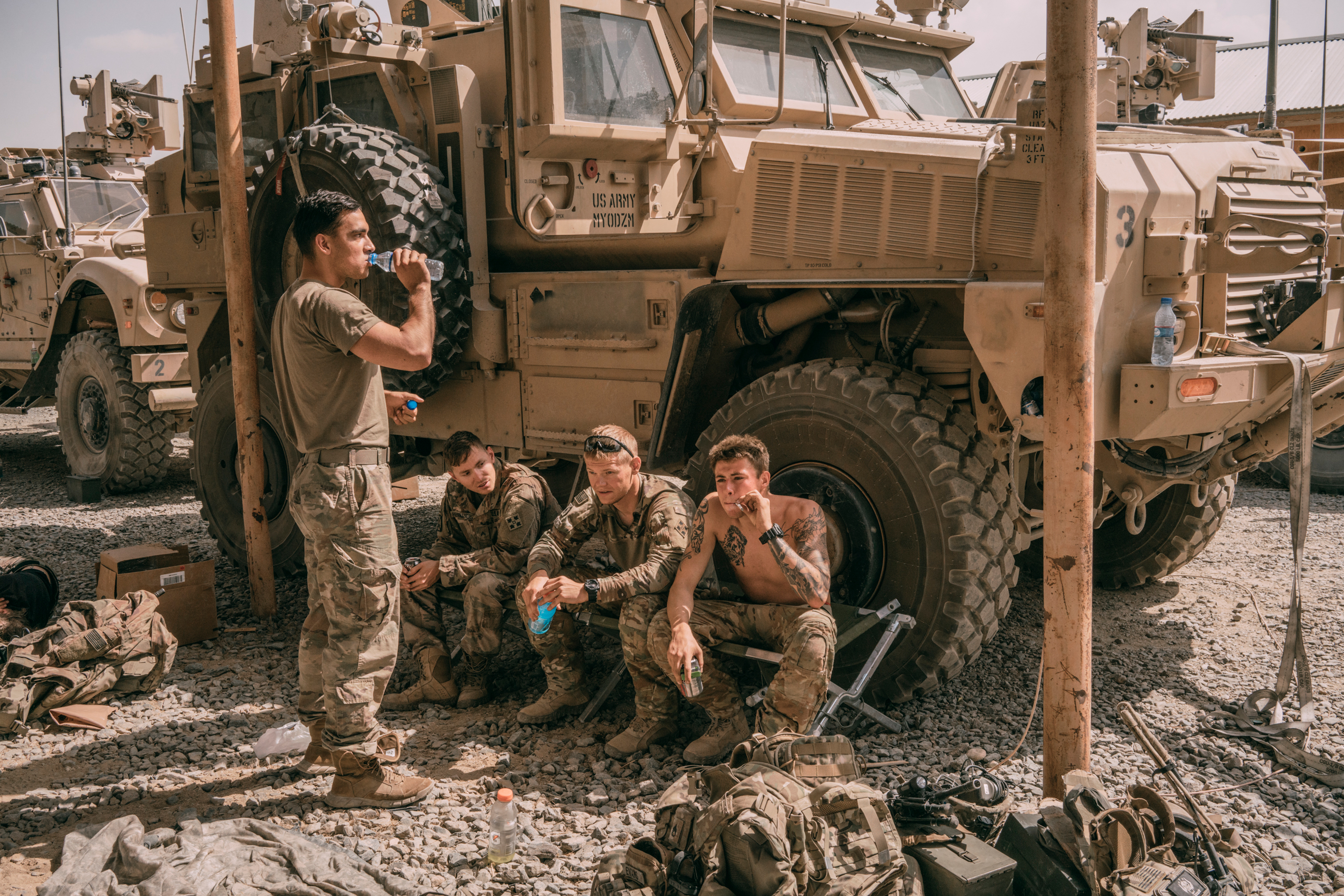 Americans at a military outpost inside Ghazni on Aug. 16, 2018, after the U.S. helped Afghan forces retake the city from the Taliban.