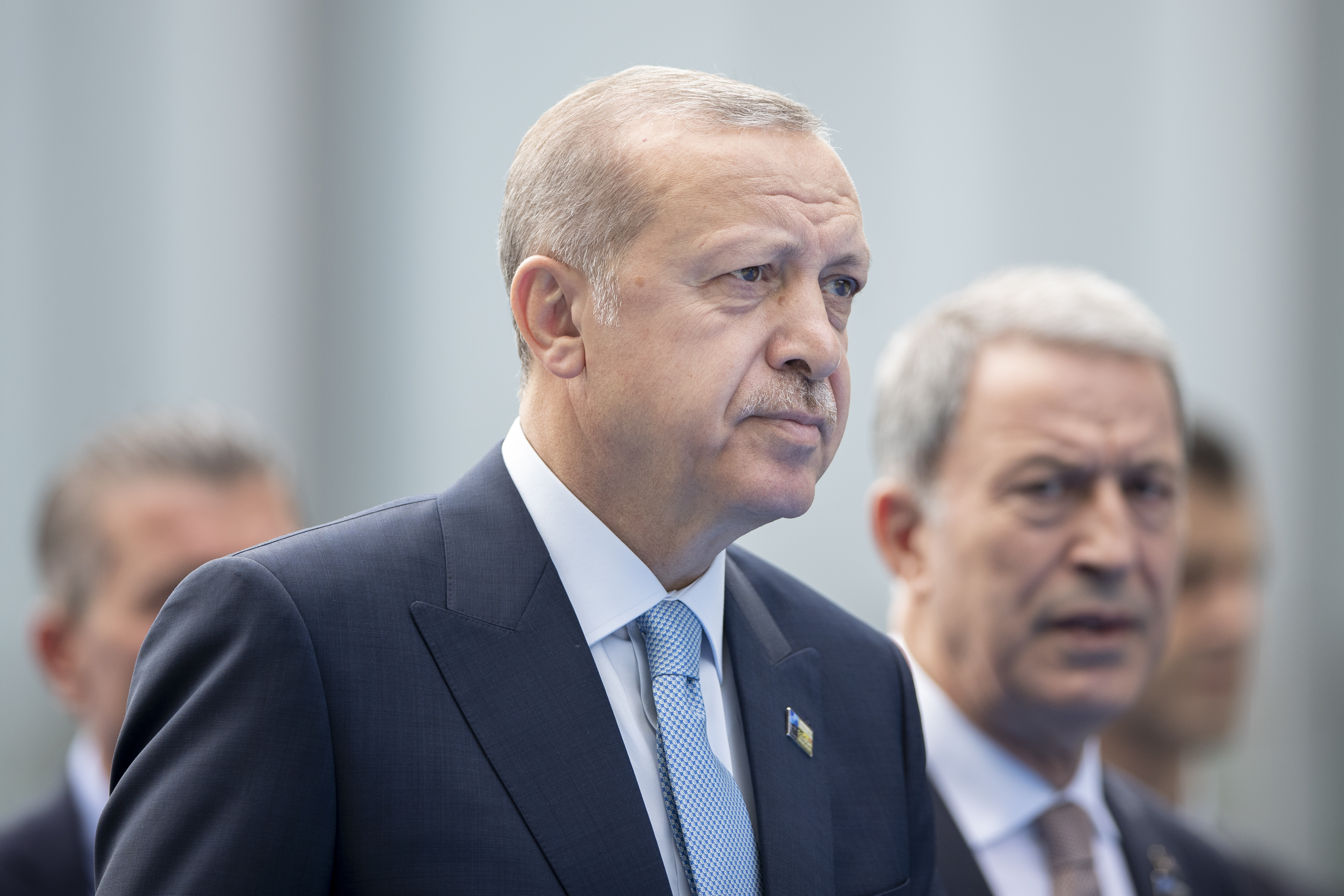 Turkish President Recep Tayyip Erdogan arrives at the 2018 NATO Summit at NATO headquarters on July 12, 2018 in Brussels, Belgium.
