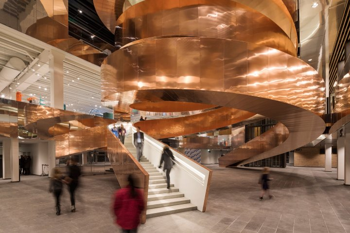 The copper staircase at Experimentarium in Hellerup