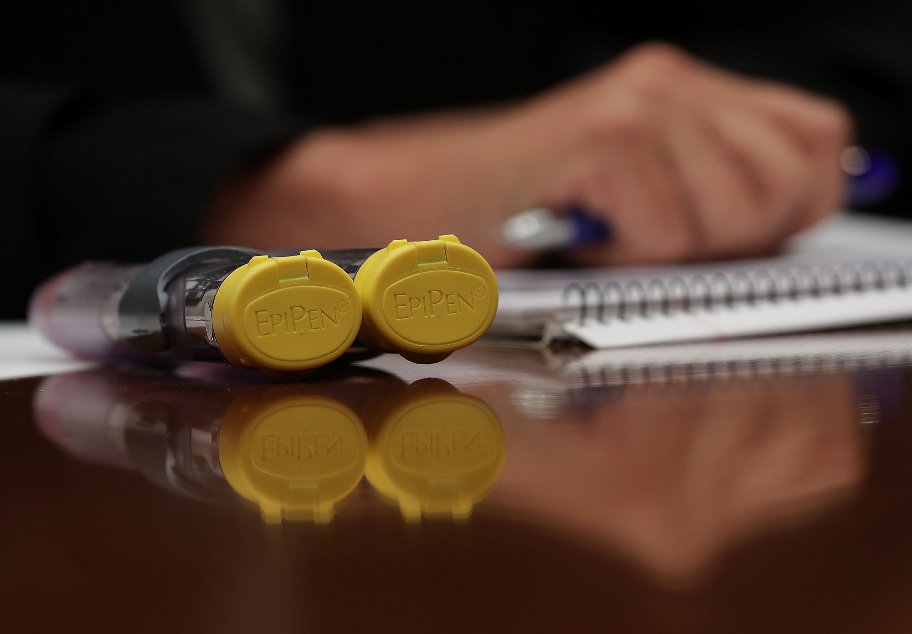 A 2-pack of EpiPen is seen on the witness table during a hearing before the House Oversight and Government Reform Committee September 21, 2016 on Capitol Hill in Washington, D.C.