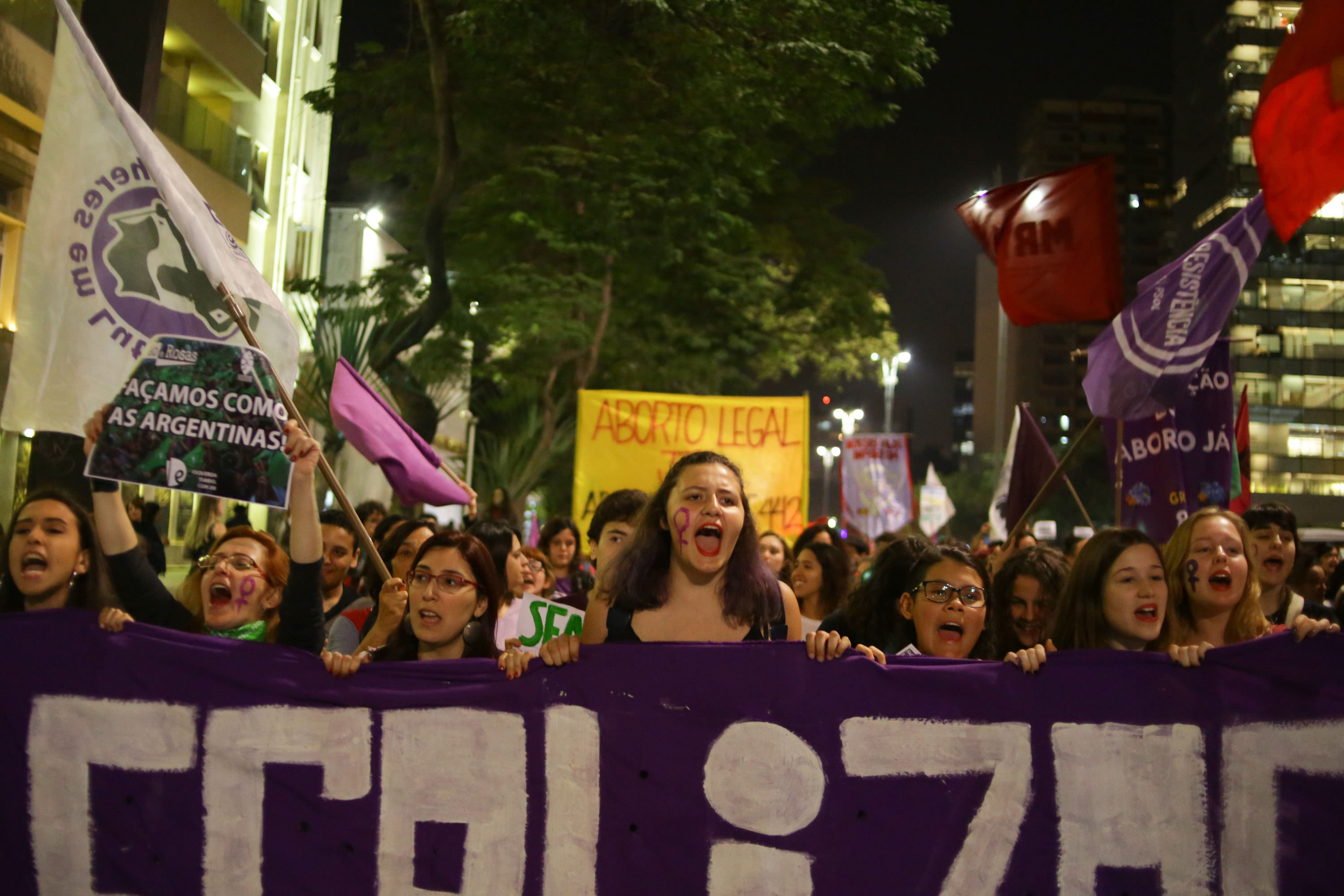 Activists demonstrate in Sao Paulo, Brazil, on July 19, 2018 in favor of abortion legalization.