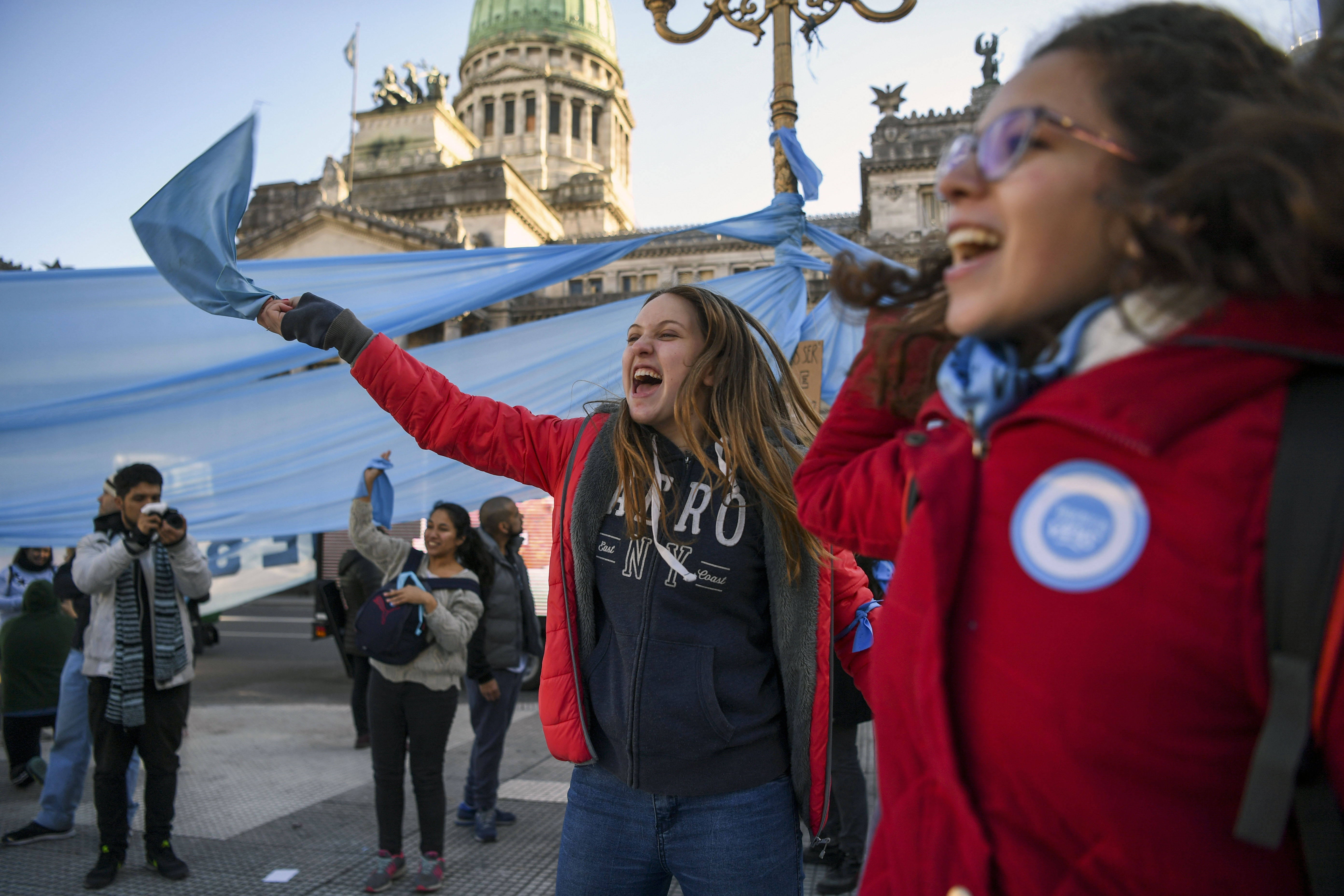 People demonstrate against the legalization of abortion outside the National Congress in Buenos Aires on August 01, 2018.