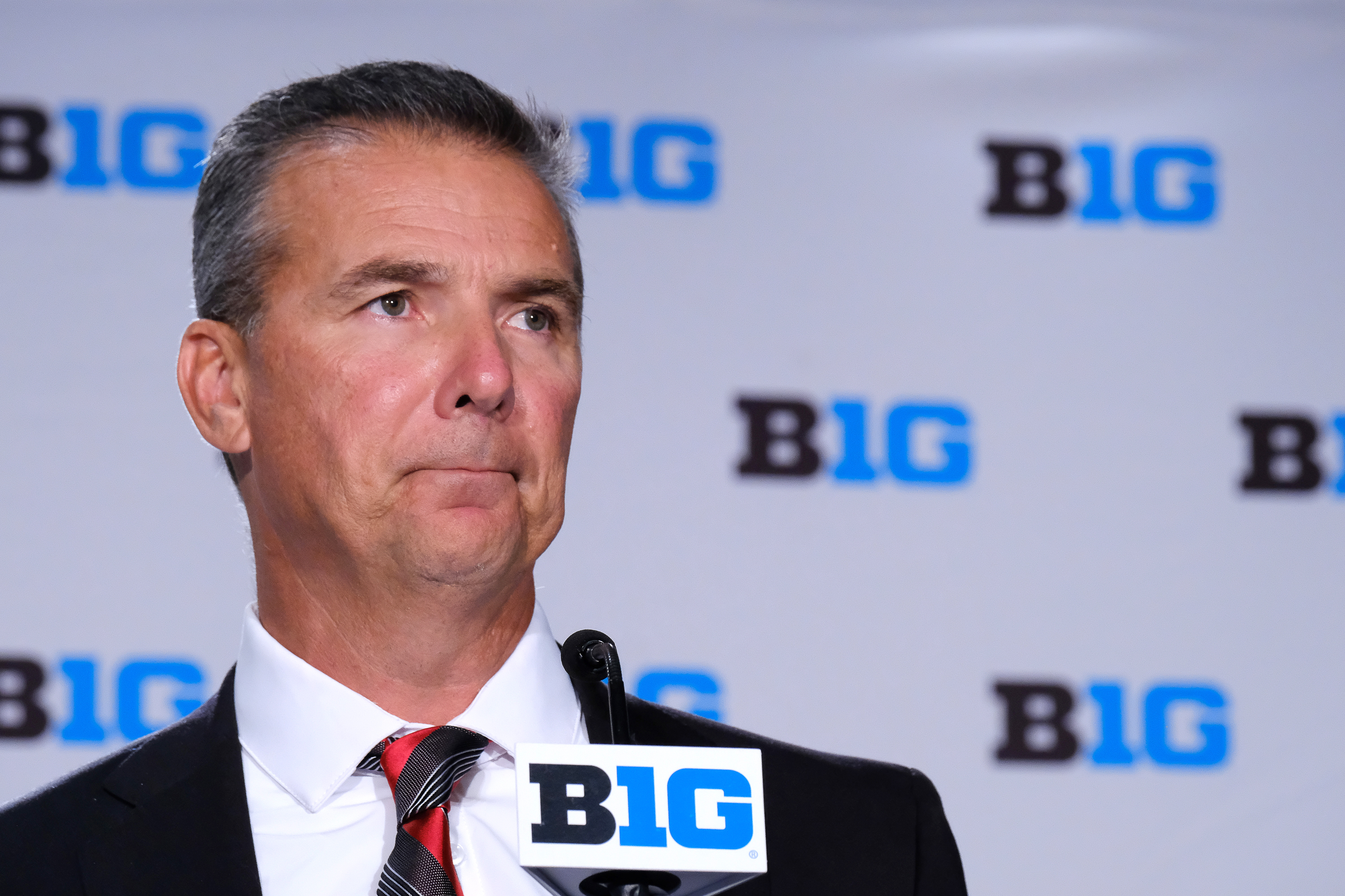 Ohio State Football head coach Urban Meyer speaks to the media during the Big Ten Football Media Days event on July 24, 2018  in Chicago, Illinois.