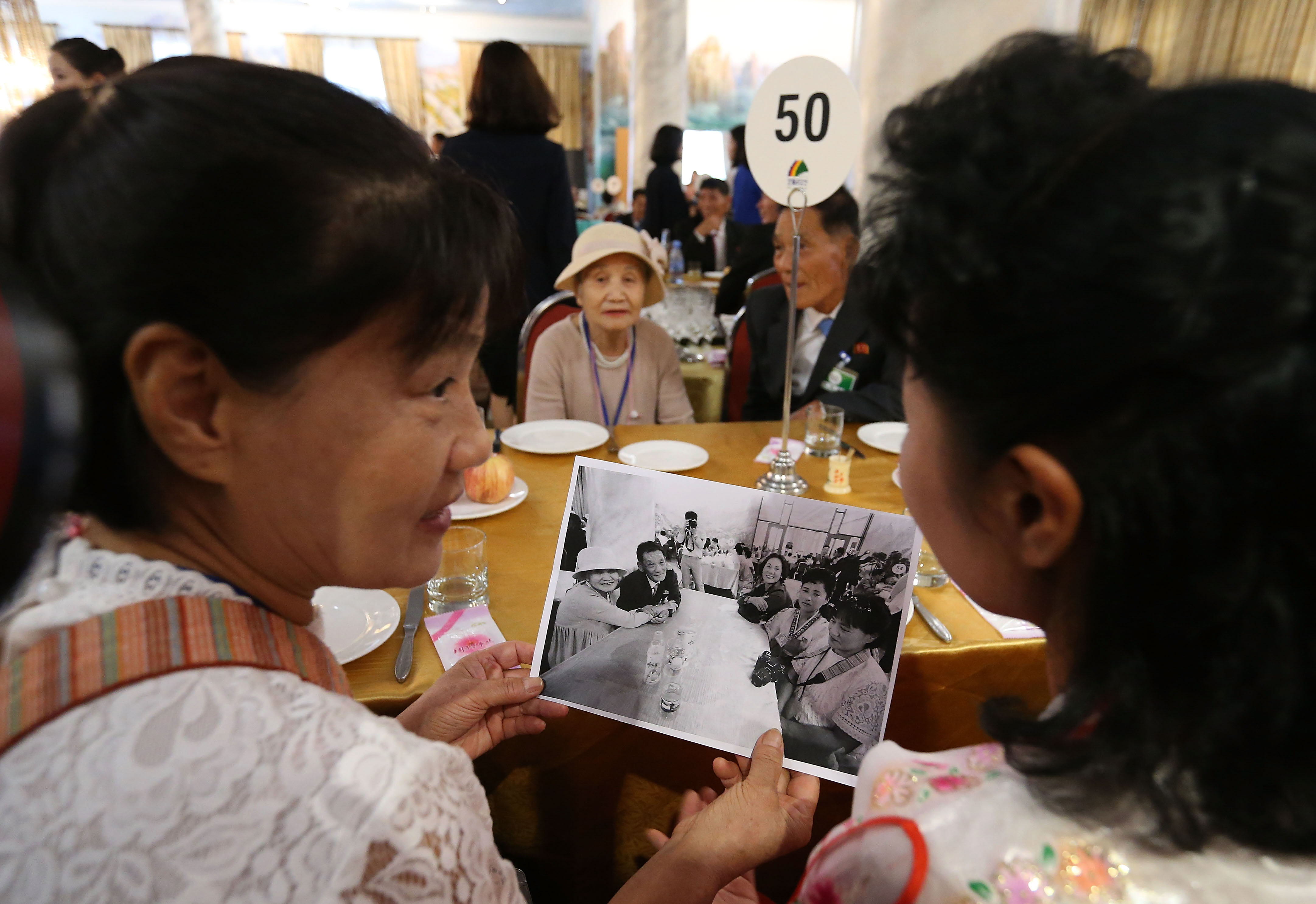 South Korean Lee Geum-Sum, 92, talks with her North Korean son Lee Sung-Chul, 71, at the last meeting of a separated family reunion in Mount Kumgang, North Korea on Aug. 22, 2018.