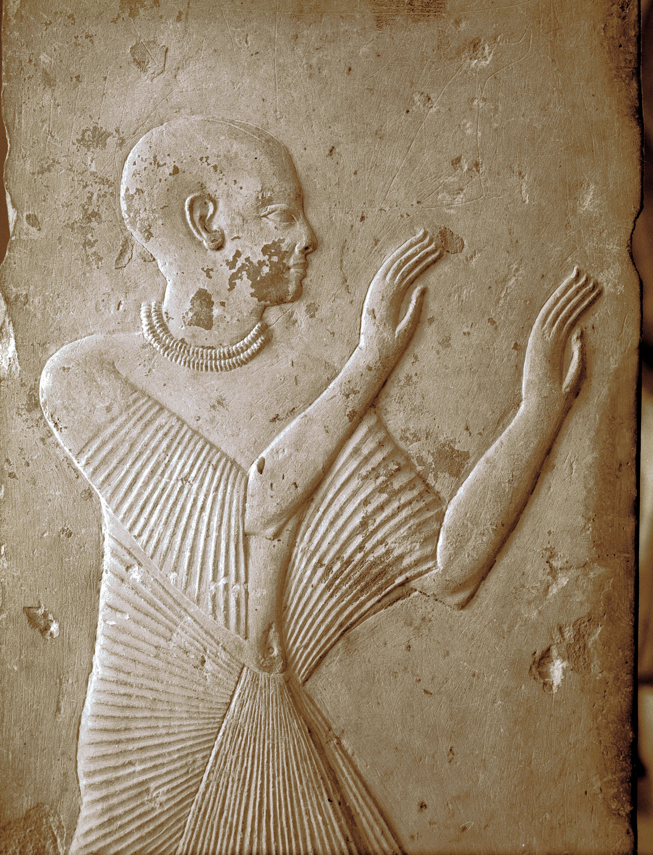 Detail of one of the four pillars from the tomb of Ptahmose depicting an adorant, found in Saqqara, Egypt.