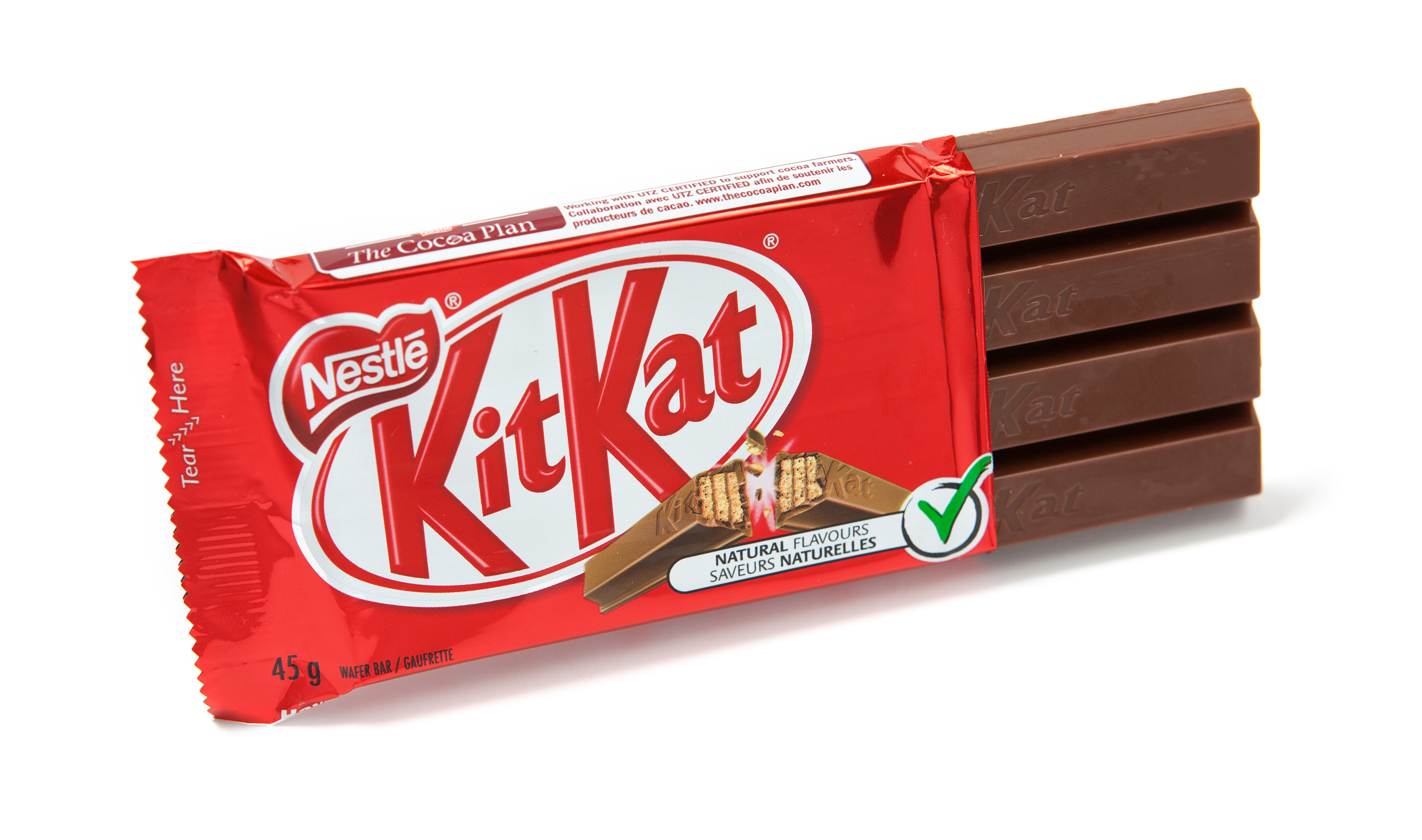 Toronto, Canada - May 10, 2012: This is a studio shot of KitKat wafer bar candy made by Nestle isolated on a white background.