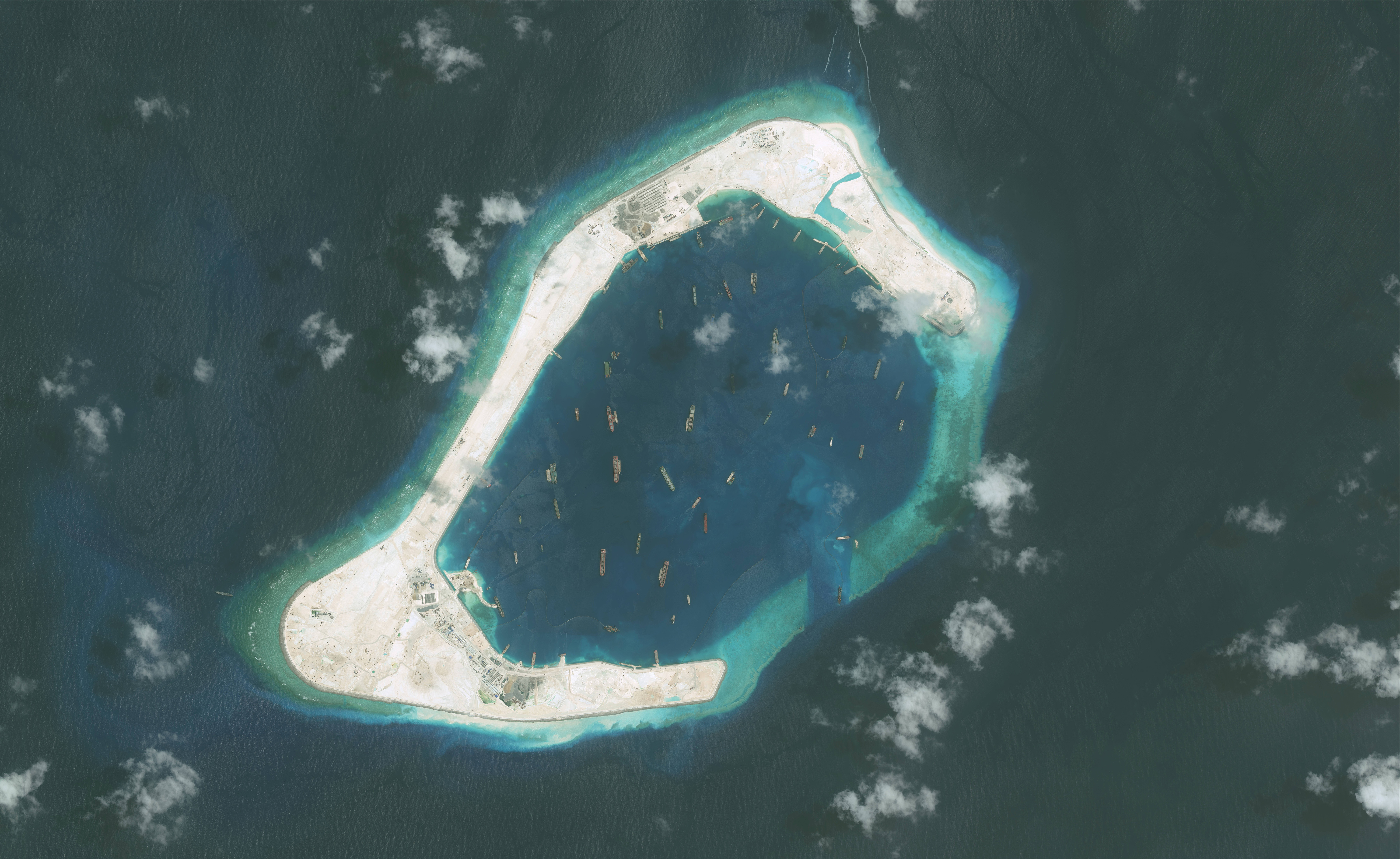 DigitalGlobe imagery of the Subi Reef in the South China Sea, a part of the Spratly Islands group, Sept. 1, 2015.