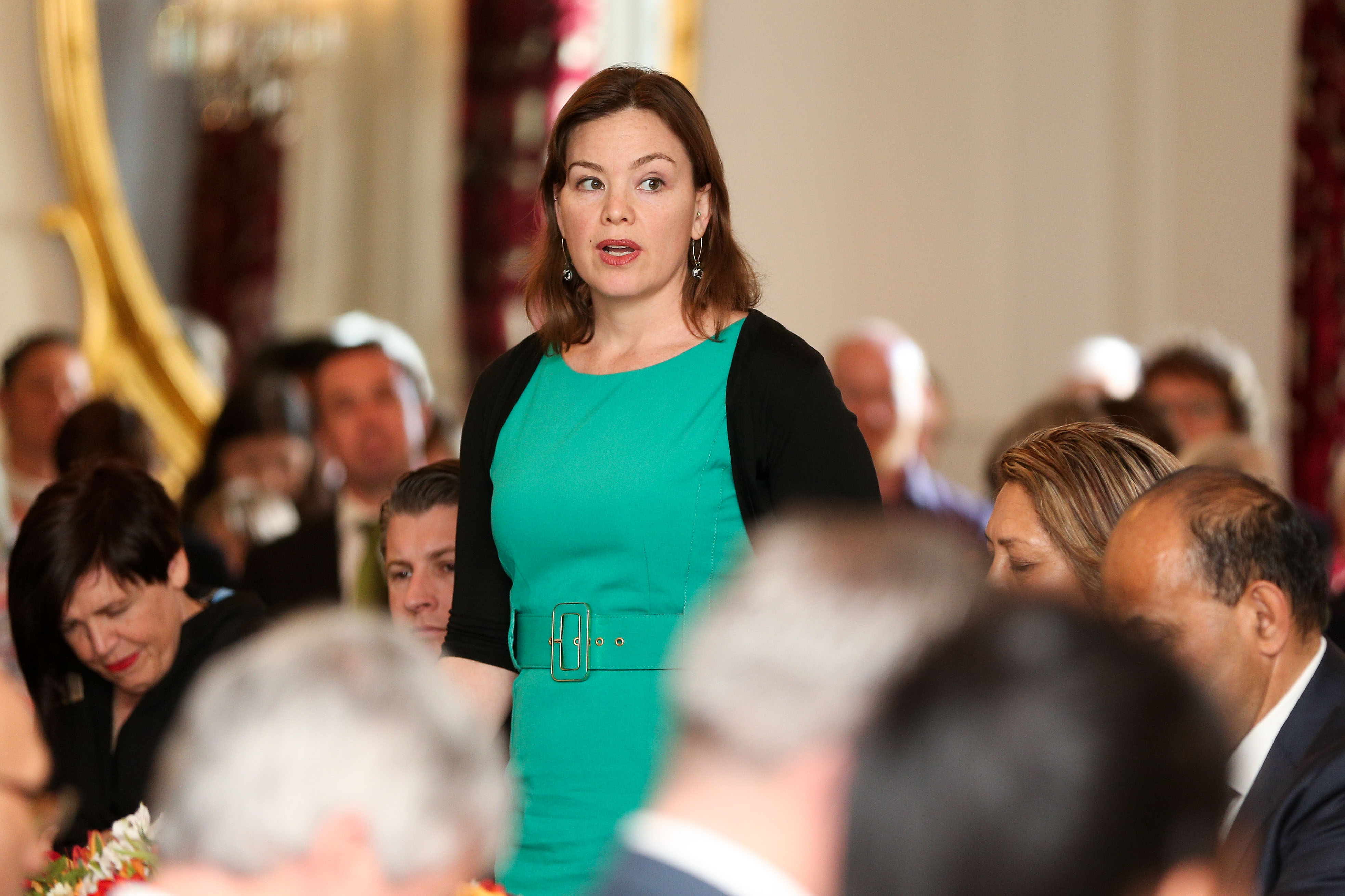 Green MP Julie Anne Genter takes an oath during a swearing-in ceremony at Government House in Wellington, New Zealand on Oct. 26, 2017.