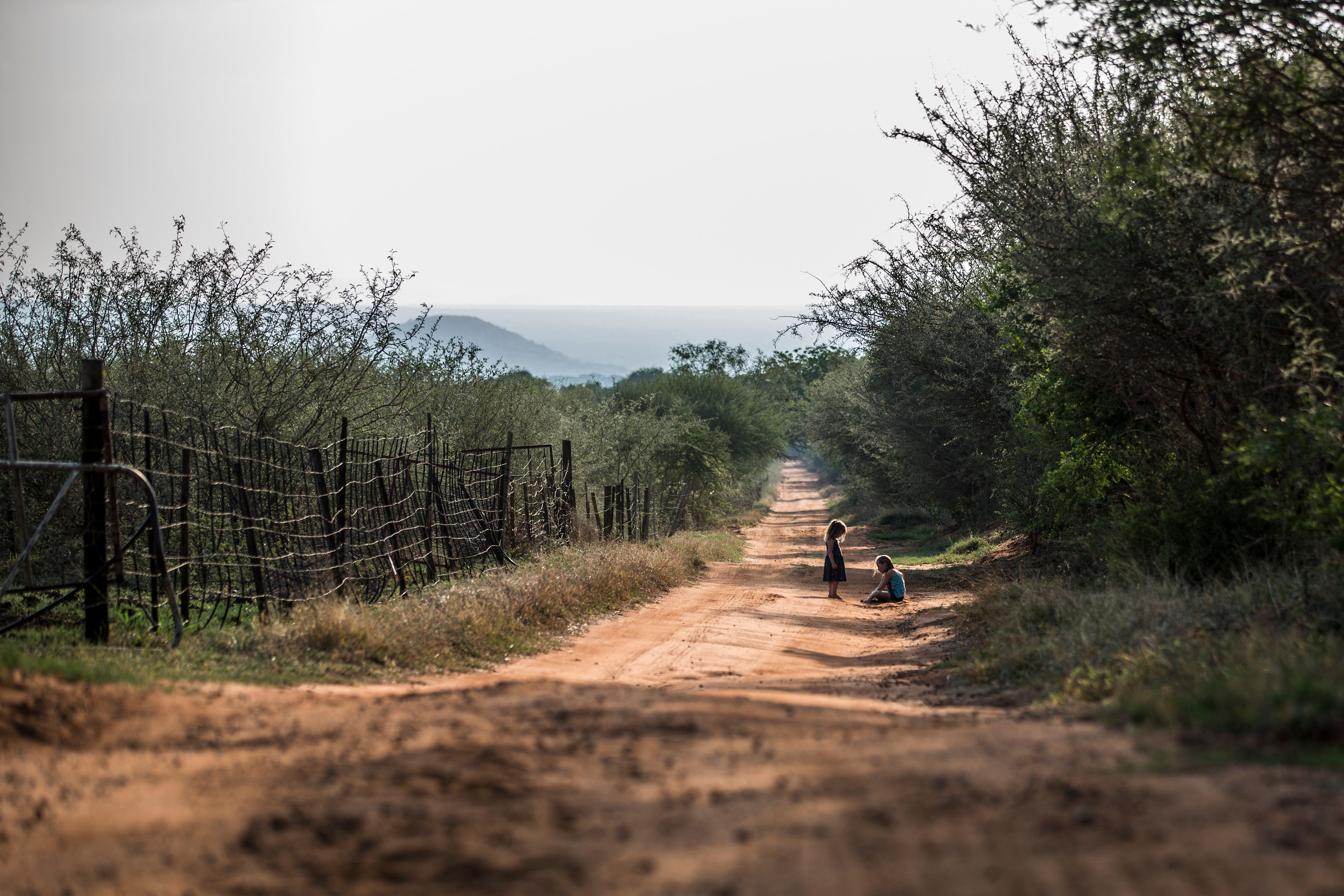 OCT 2017: Two children play on a farm in Limpopo province, South Africa.