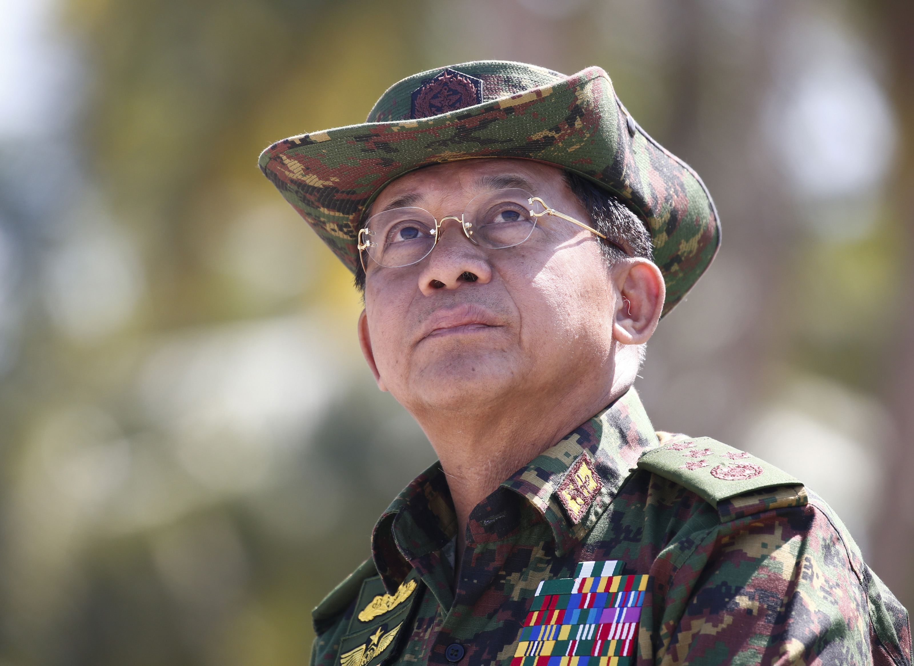 Myanmar military commander-in-chief Senior General Min Aung Hlaing speaks during the second day of 'Sin Phyu Shin' joint military exercises in the Ayeyarwaddy delta region on Feb. 3, 2018.
