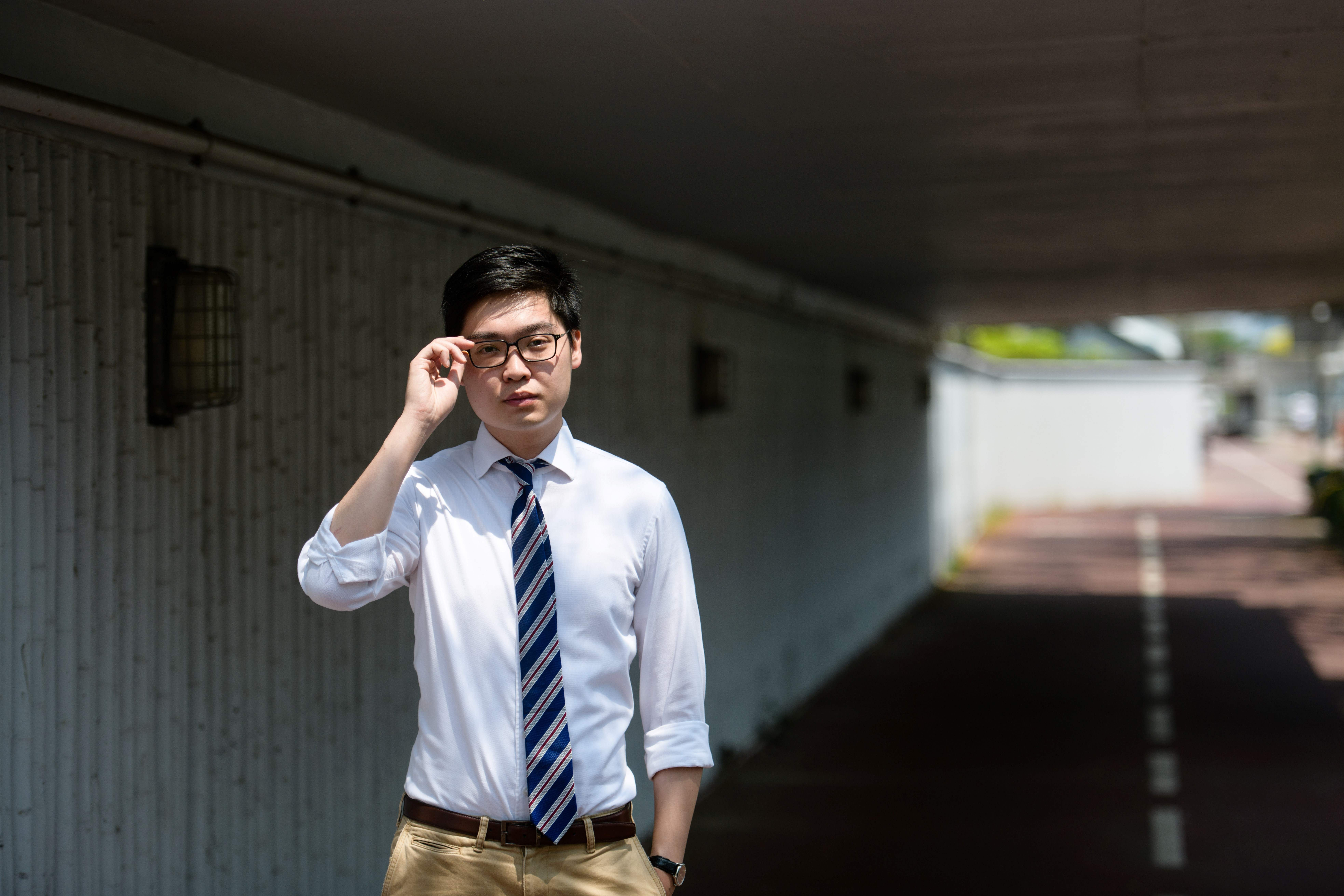 In this picture taken on March 22, 2018, pro-independence activist Andy Chan poses during an interview with AFP in Hong Kong.