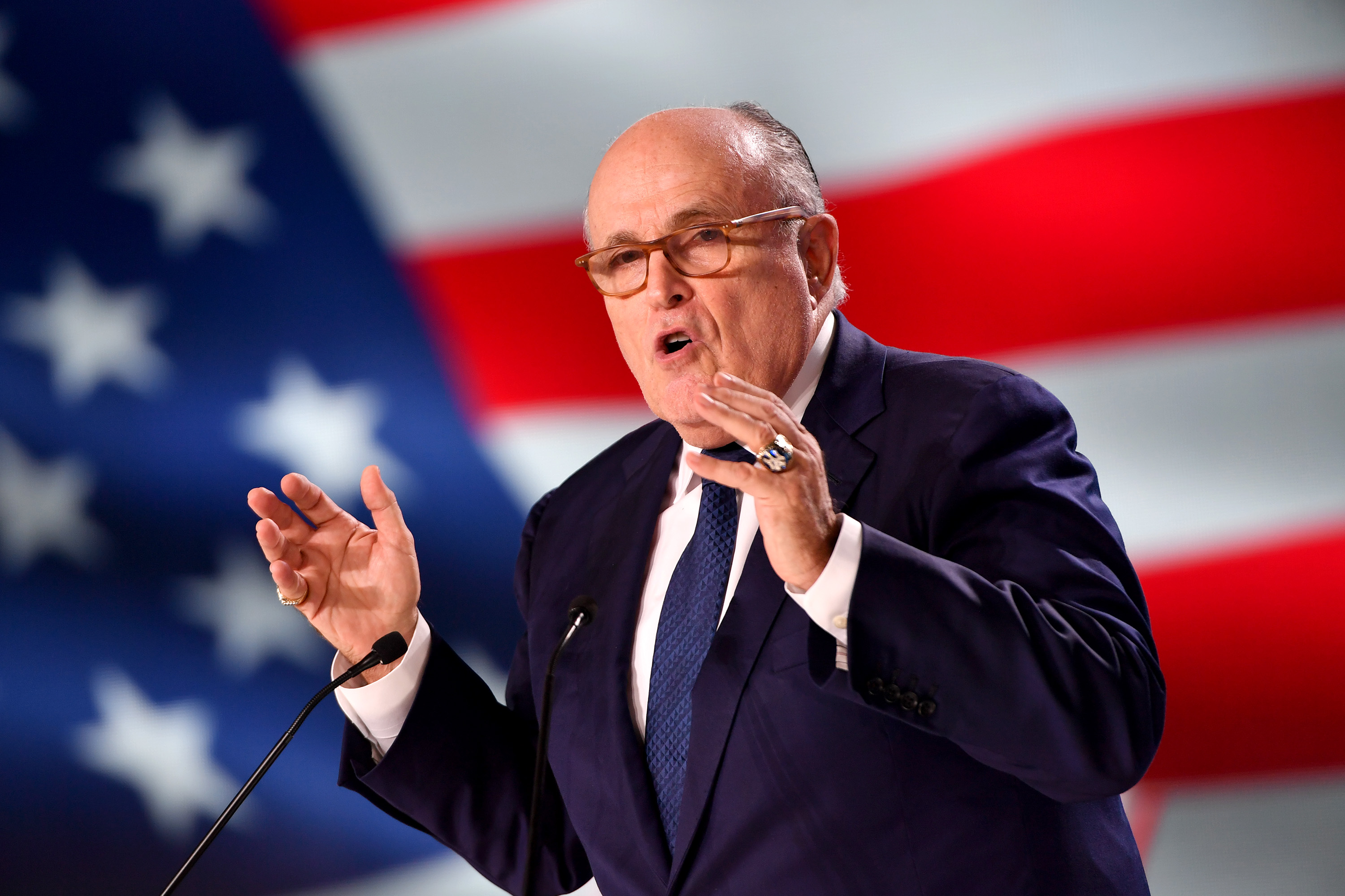 JUNE 30:  Former Mayor of New York Rudolph Giuliani speaks during the Conference In Support Of Freedom and Democracy In Iran