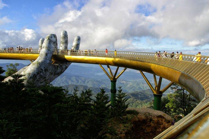 Golden Bridge in the Ba Na Hills near Danang in Vietnam