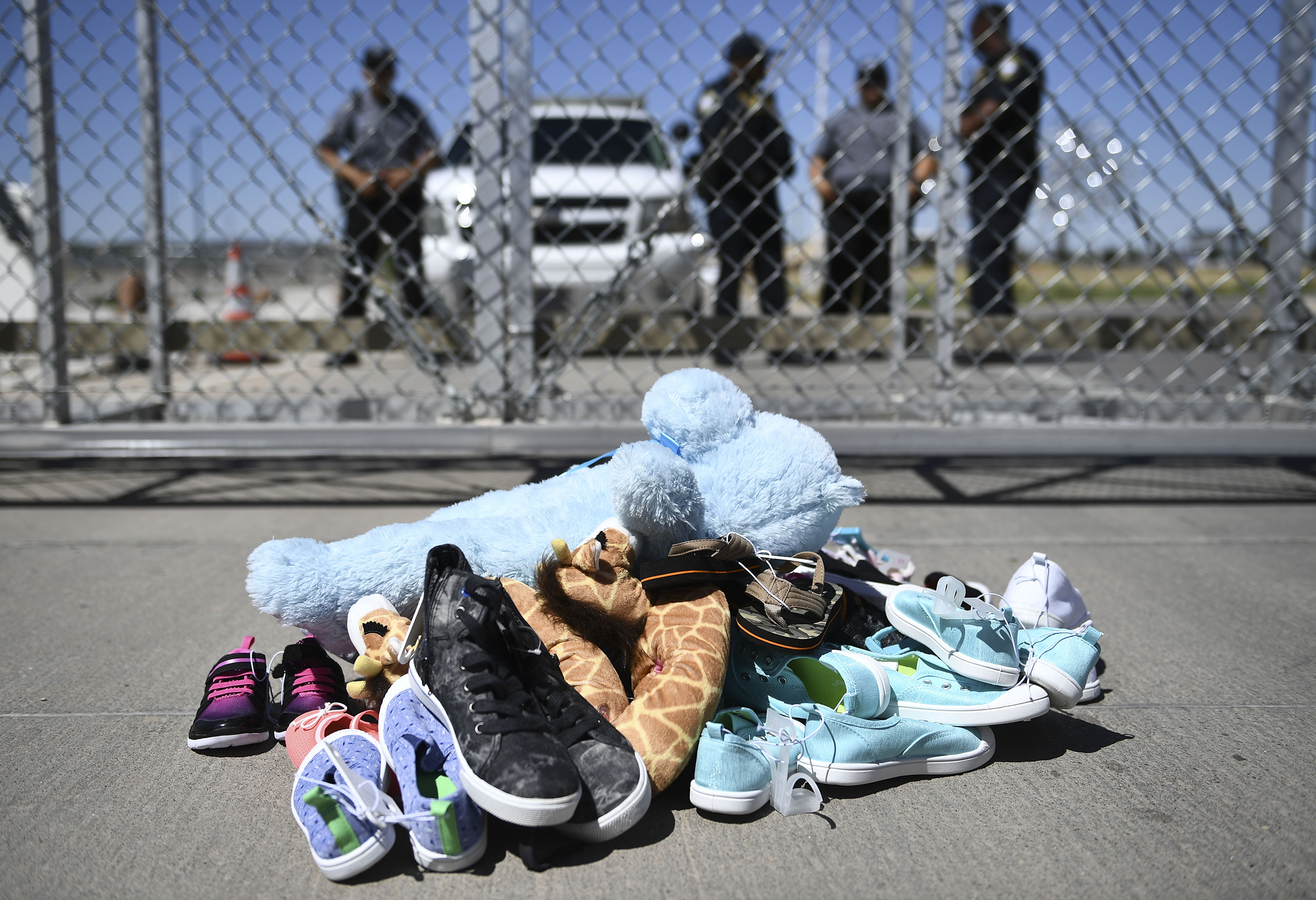 Shoes are left by people at the Tornillo Port of Entry near El Paso, Texas, on June 21, 2018 during a protest rally by several American mayors against the US administration's family separation policy.