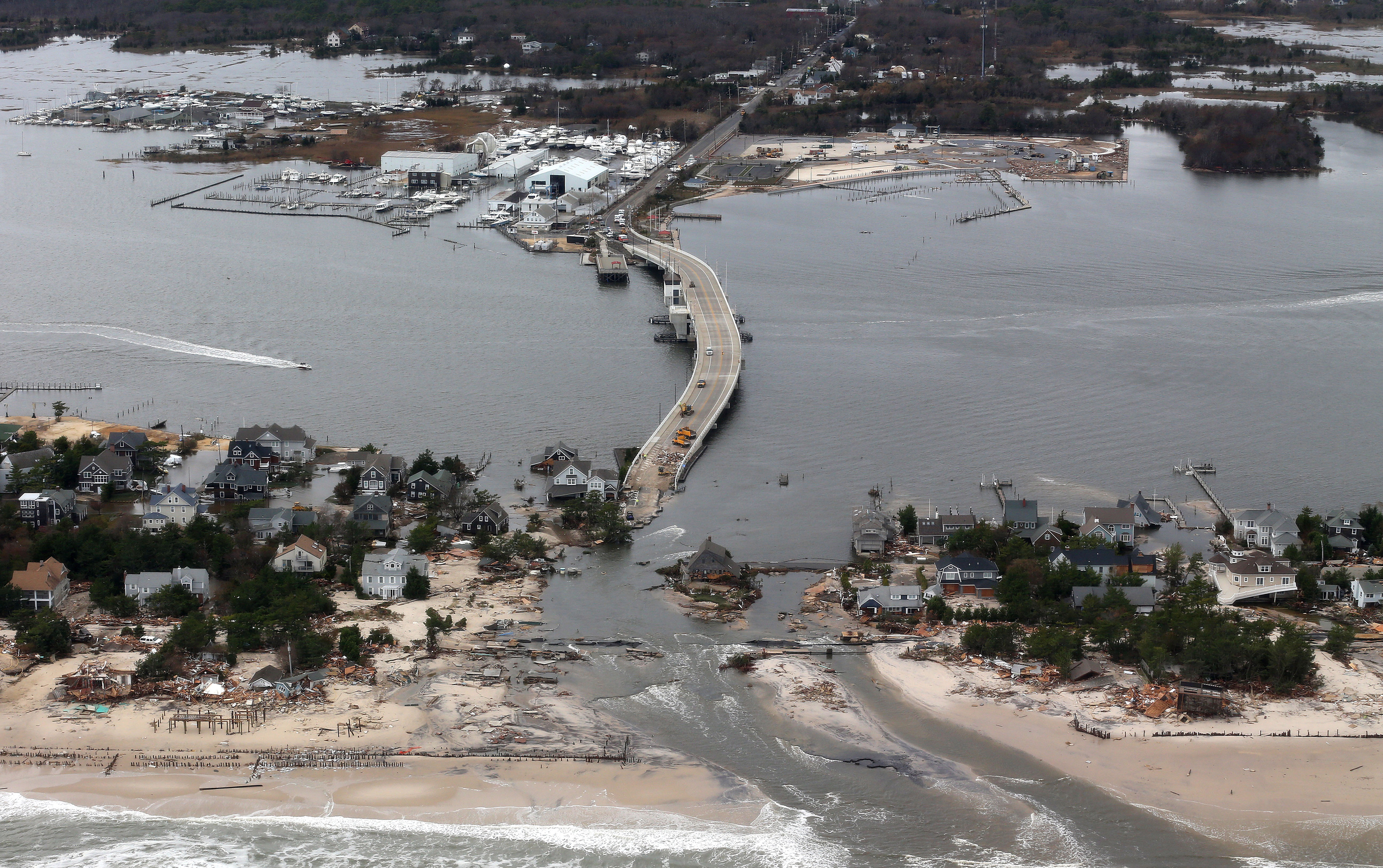 In 2012, the U.S. weather model's poor prediction of Hurricane Sandy's path led to massive devastation along the East Coast, seen here in Mantoloking, NJ, and served as  a wake-up call to American meteorologists