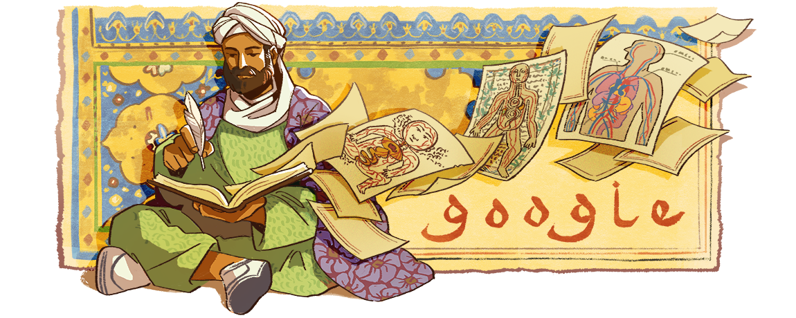 A Google Doodle honoring Ibn Sina's 1038th Birthday on August 7, 2018.