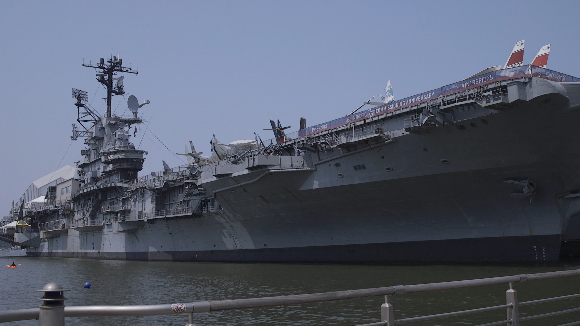 The Intrepid is docked off the West Side on Manhattan during its 75th anniversary.