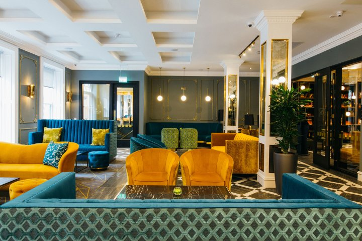The lobby of the Iveagh Garden hotel