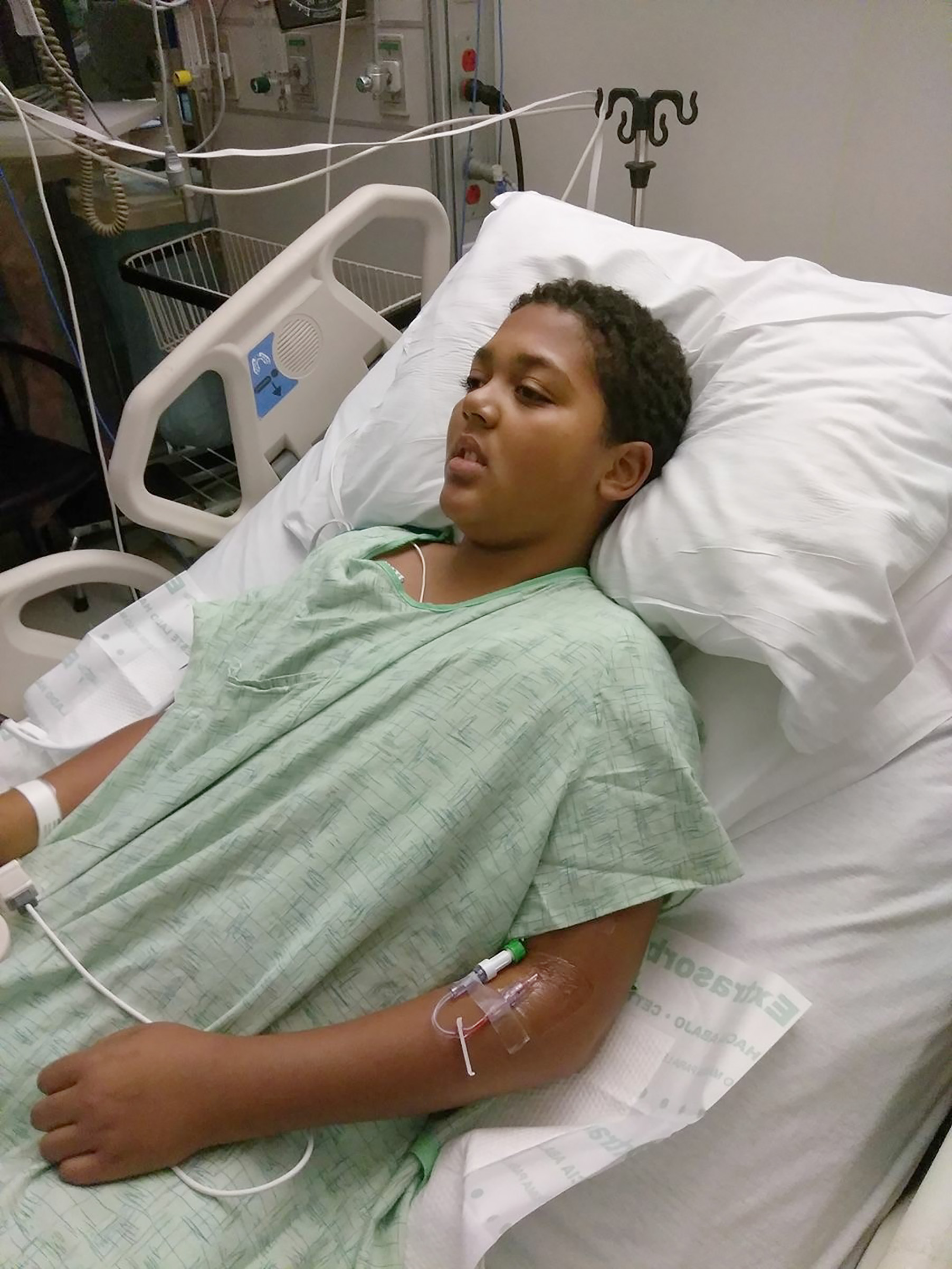 Jayden in the ICU at UC Davis where he stayed for five days.