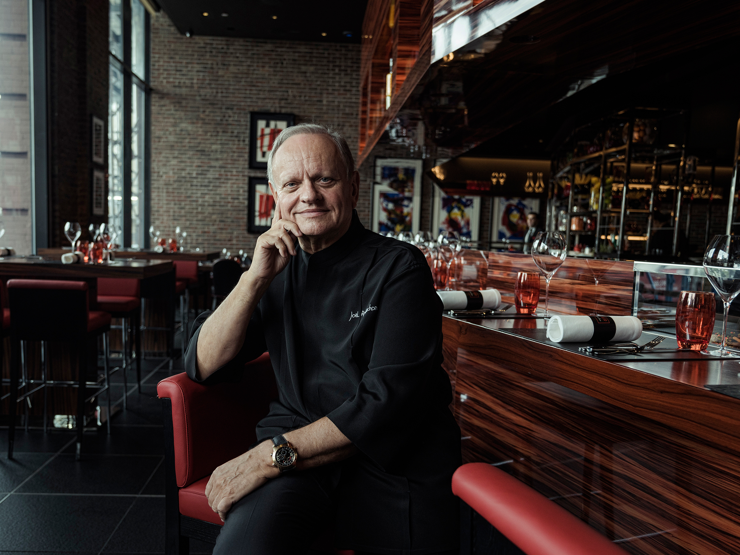 Robuchon at his restaurant L'Atelier de Joël Robuchon in Manhattan, on Oct. 23, 2017; the chef reached 32 Michelin stars