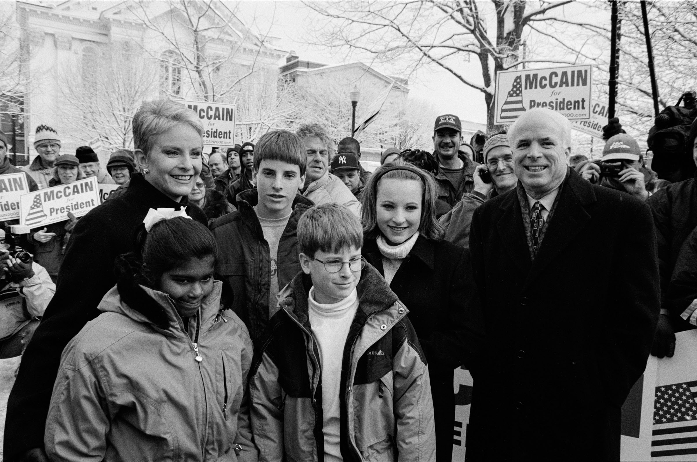 John McCain at a rally in the park with his family: (L-R) daughter Bridget (8), wife Cindy, sons Jack (13) and Jimmy (10), and daughter Meghan (15), in Keene, NH on Jan. 31, 2000.