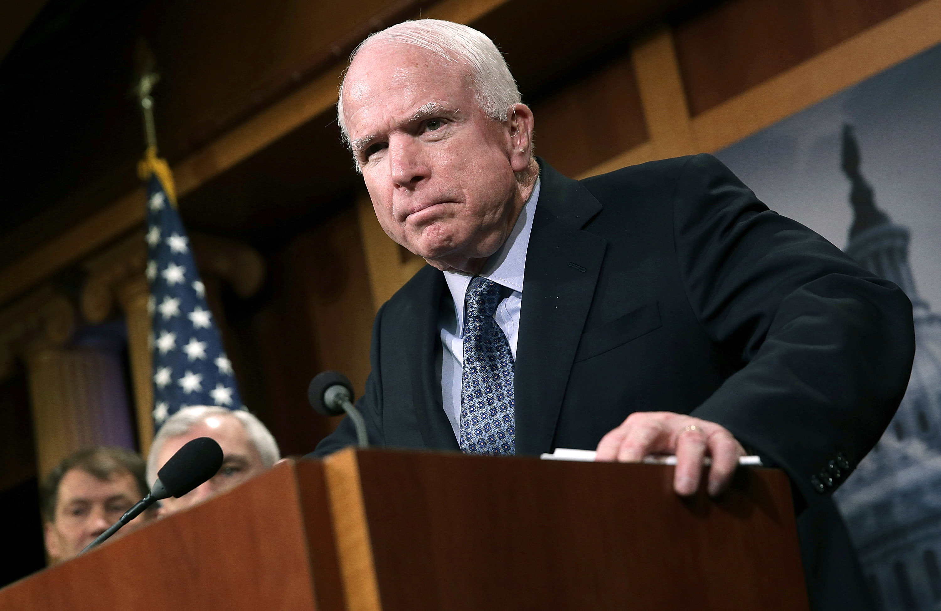 Sen. John McCain (R-AZ) speaks during a press conference at the U.S. Capitol February 5, 2015 in Washington, DC.