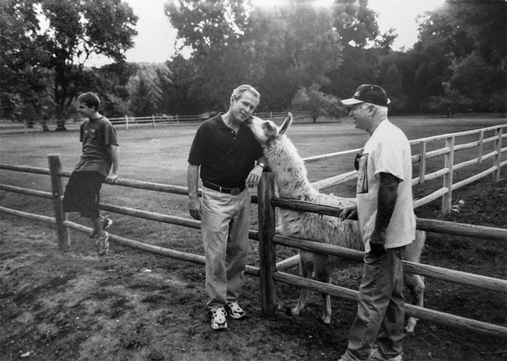 A previously unpublished image of Sen. John McCain and Gov. George Bush at McCain's ranch outside of Sedona, Arizona, circa 2000.