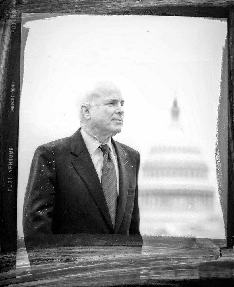 A contact print of Sen. John McCain at the U.S. Capital in Washington.