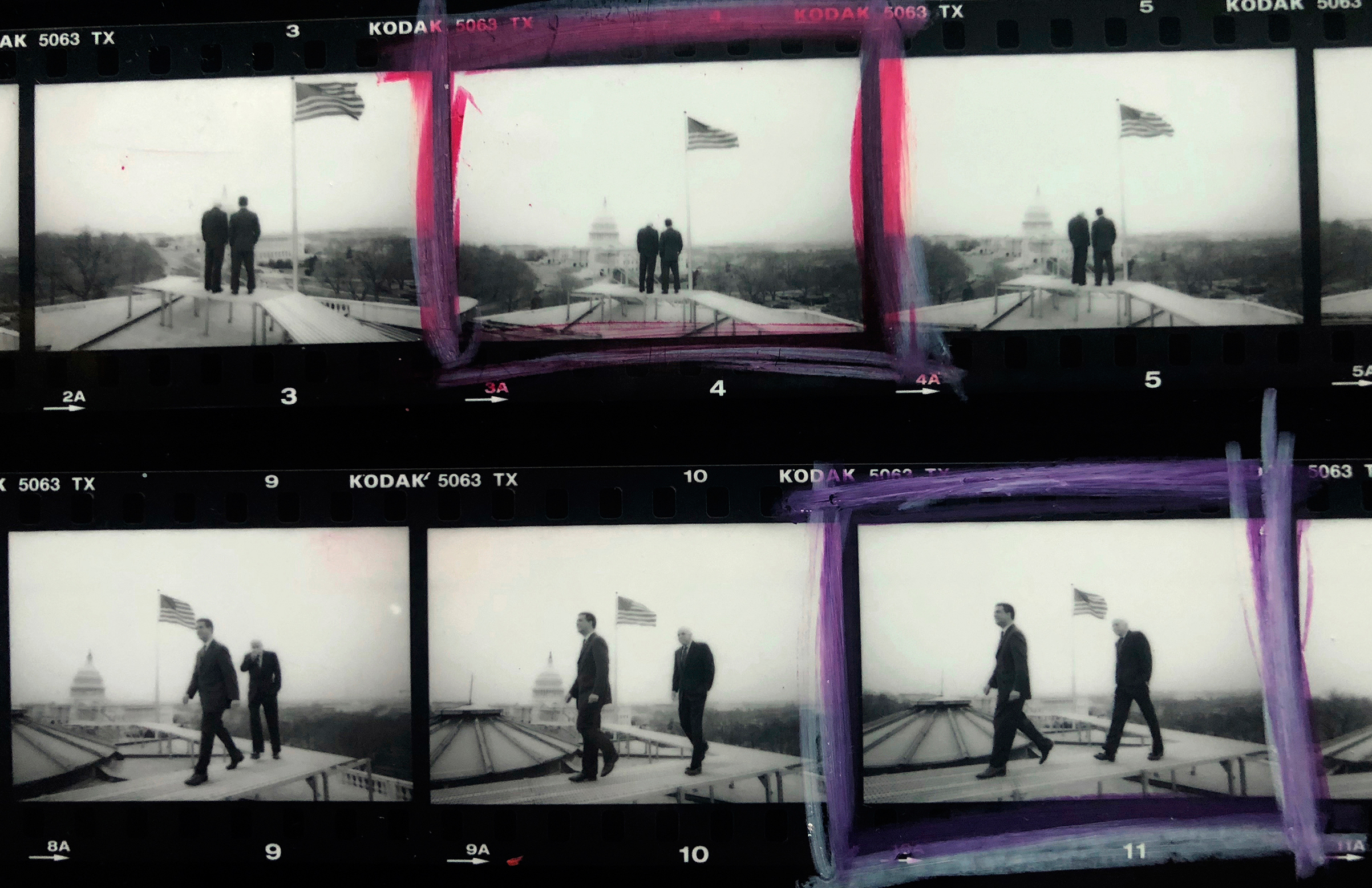 A contact sheet showing photographs of Sens. John McCain and Russ Feingold.  I asked if they would be willing to go on the roof of the Senate Russell building for a portrait session, for their attempt at campaign finance reform, back in March of 2001.