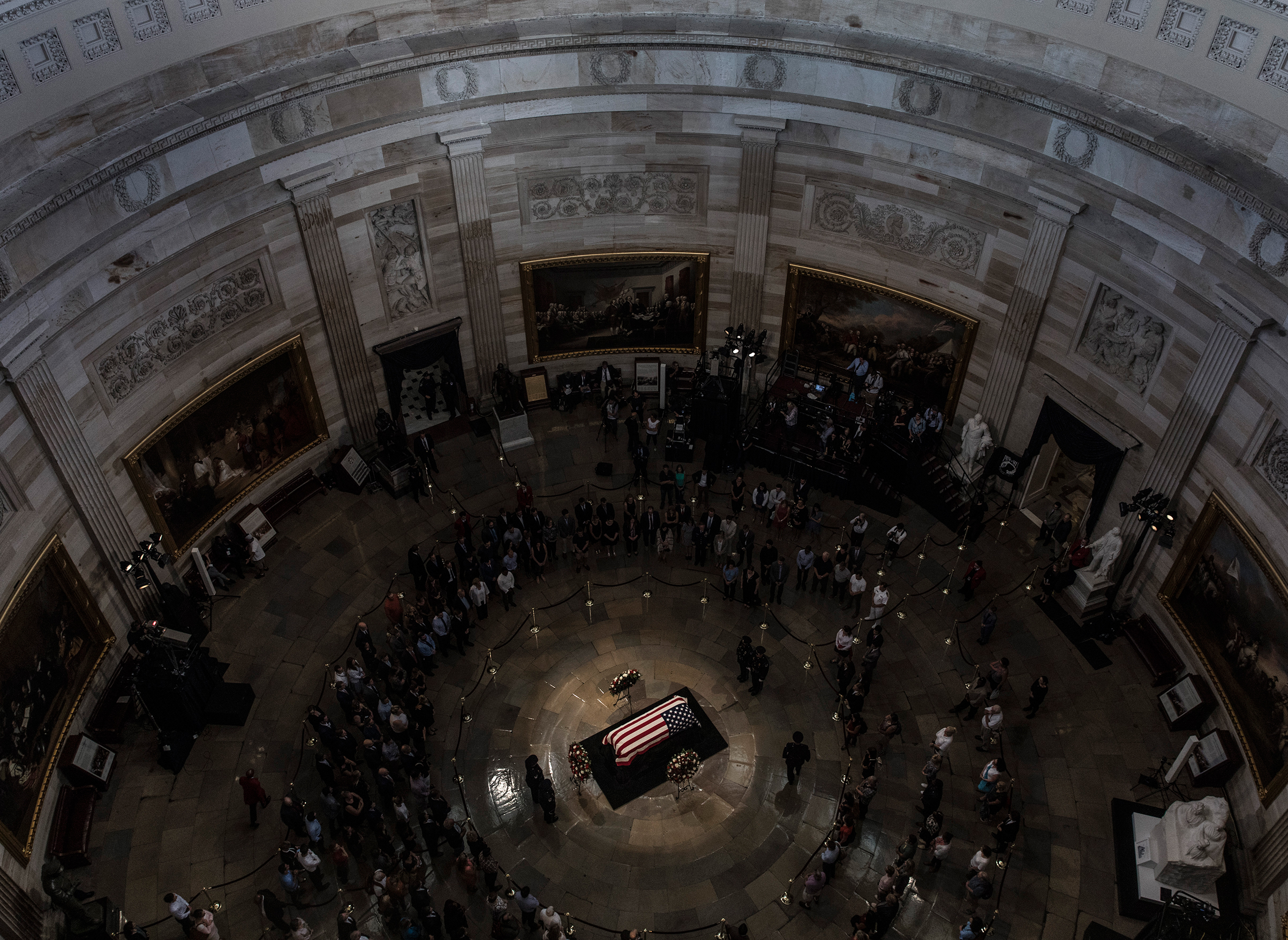 The casket of Sen. John McCain arrived inside the Rotunda of the U.S. Capitol, Aug. 31, 2018 in Washington, DC. McCain died Aug. 25 at age 81 after a long battle with brain cancer. His body laid in state at the U.S. Capitol on Friday, a rare honor bestowed on only 31 people in the past 166 years.