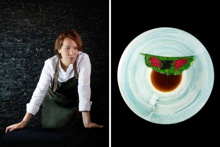 Chef Leonor Espinosa and a dish from the restaurant Leo in Bogota
