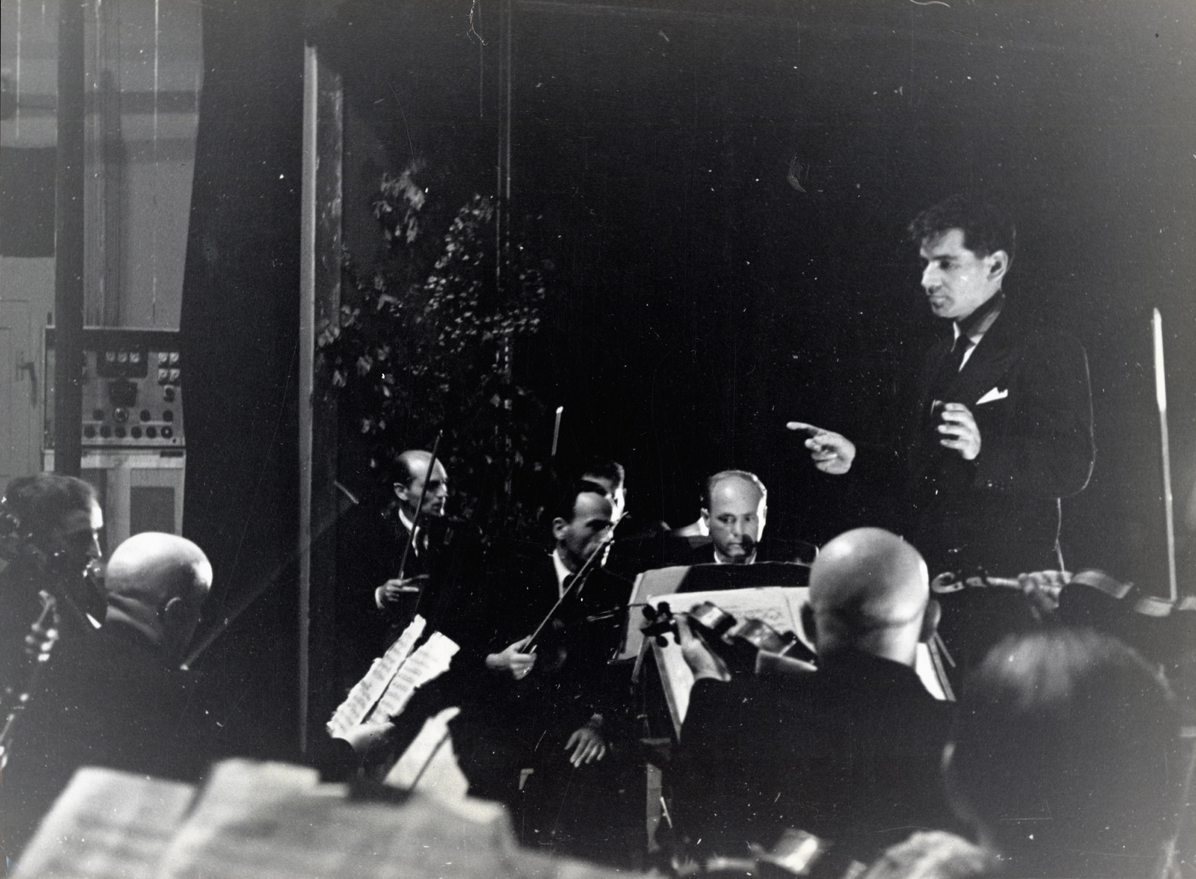Leonard Bernstein conducting an orchestra of concentration camp survivors for a concert sponsored by the American Jewish Joint Distribution Committee on May 10, 1948, in Munich.