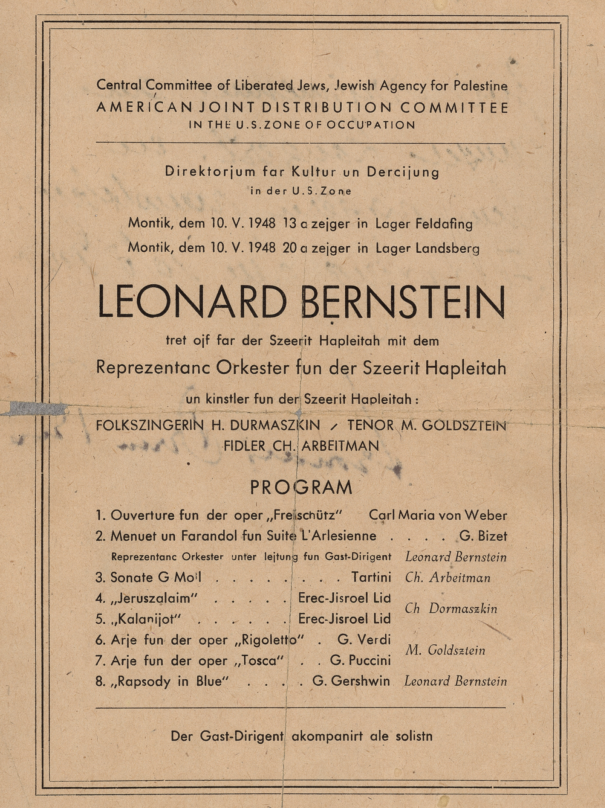 Program for Sheerit Hapleitah (which has been called the  The Surviving Remnant  or the  Orchestra of Last Survivors ) concert outside Munich, Germany, dated May 10, 1948.