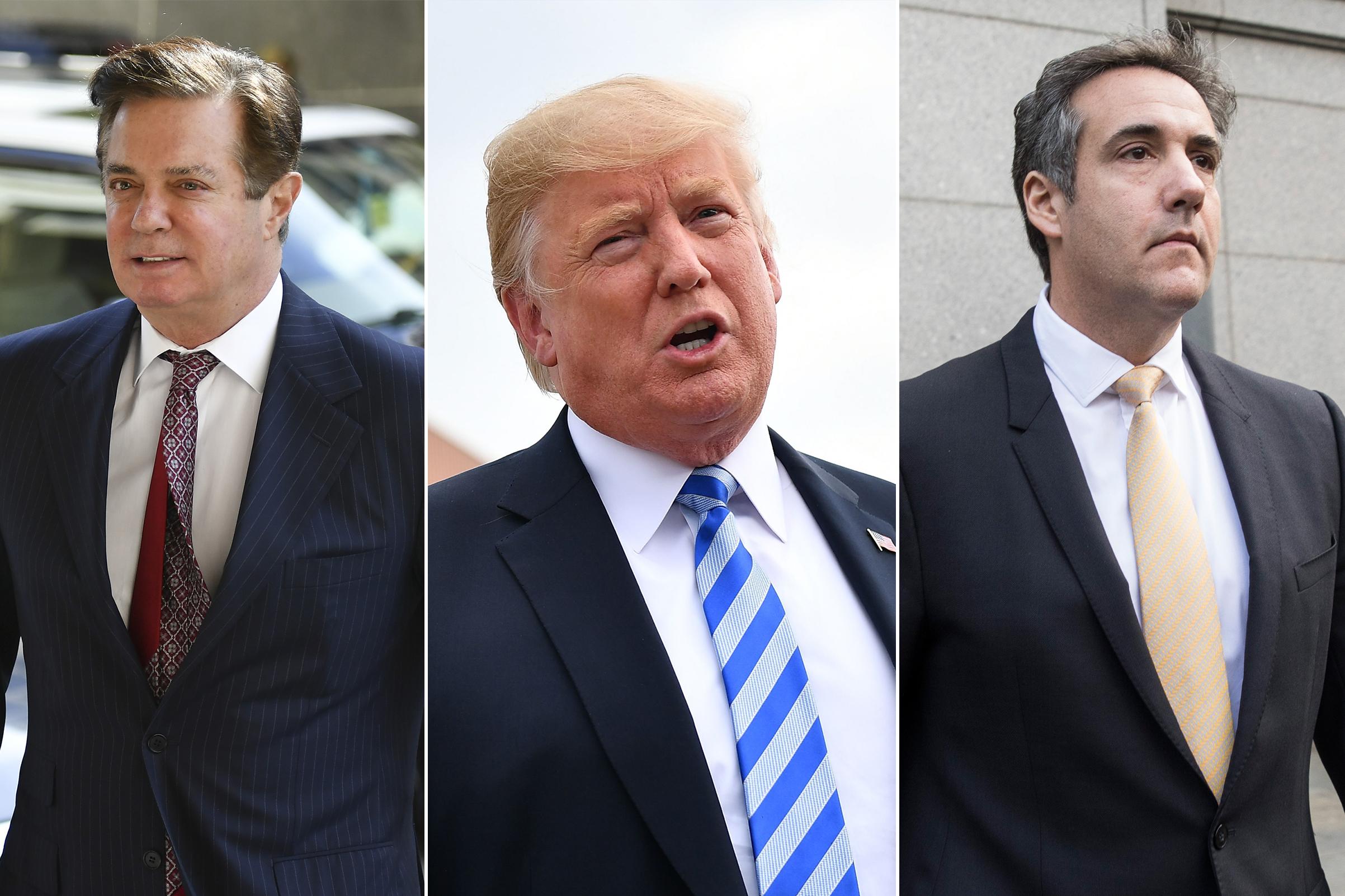 Paul Manafort, President Donald Trump and Michael Cohen