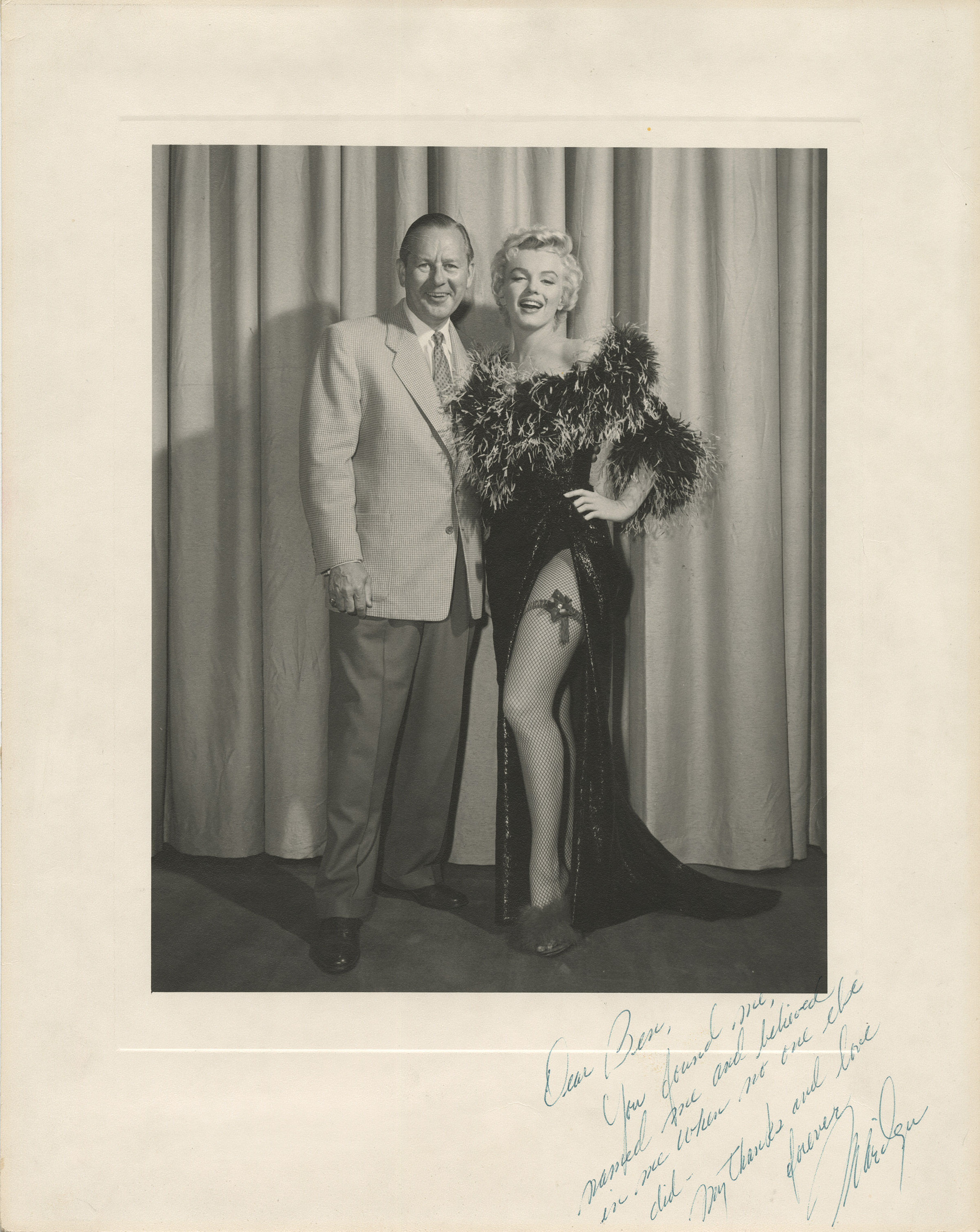 An autographed photograph of Marilyn Monroe and Ben Lyon