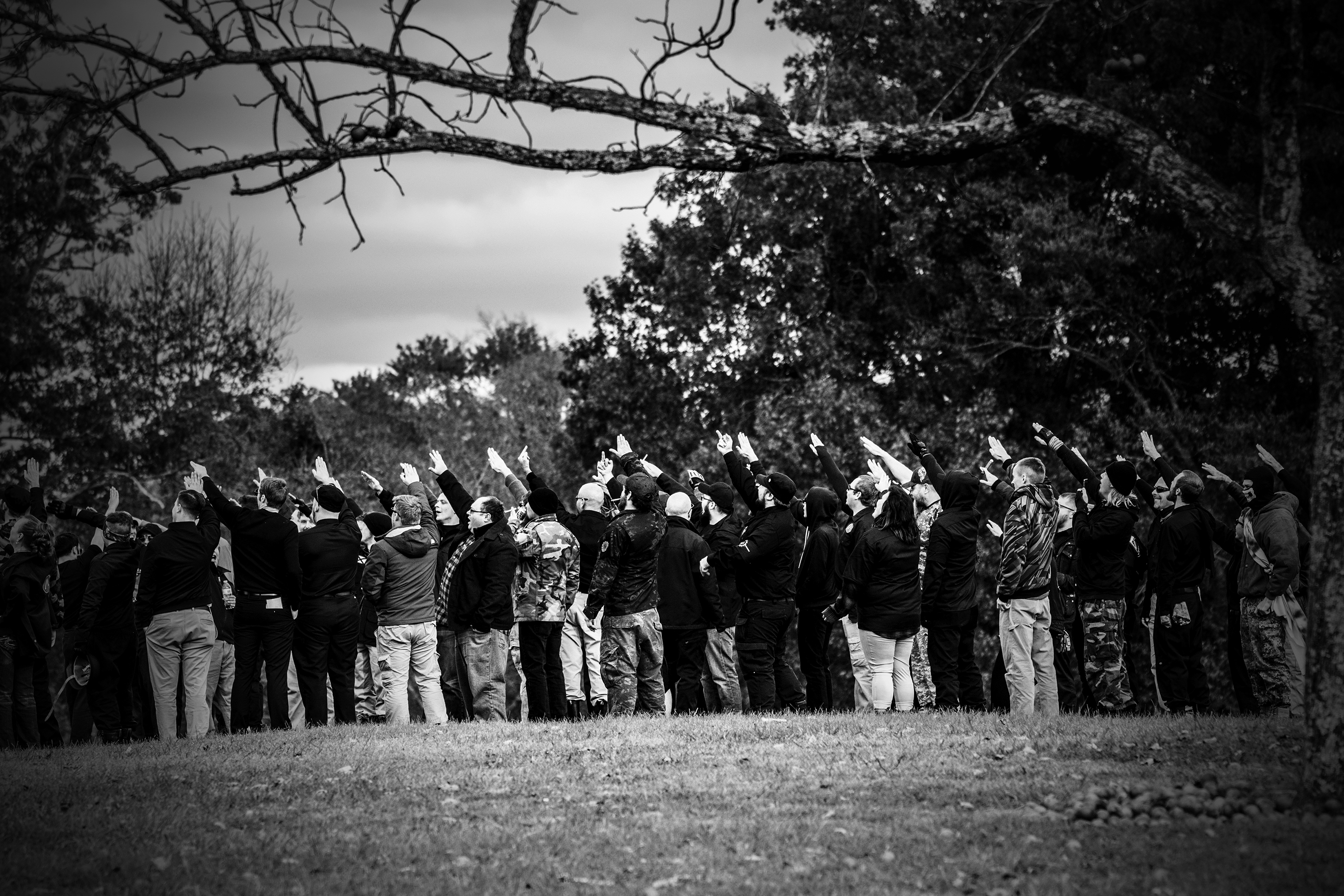 National Socialist Movement members give the Nazi salute on a hill in Henry Horton Park in Chapel Hill, Tenn., on Oct. 28, 2017.