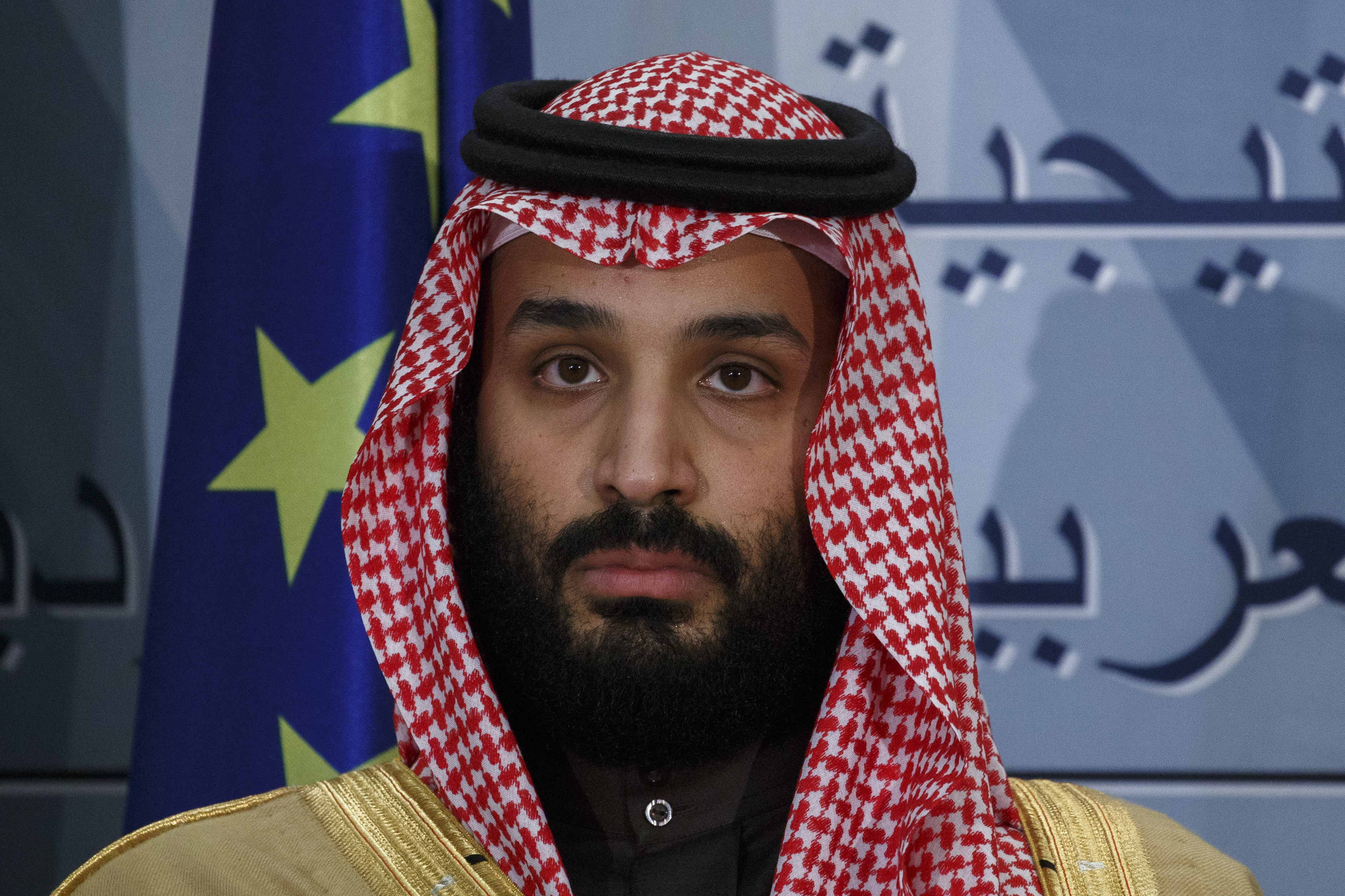 Saudi Arabia Crown Prince Mohammed bin Salman looks on during a ceremony at Moncloa Palace on April 12, 2018 in Madrid, Spain.