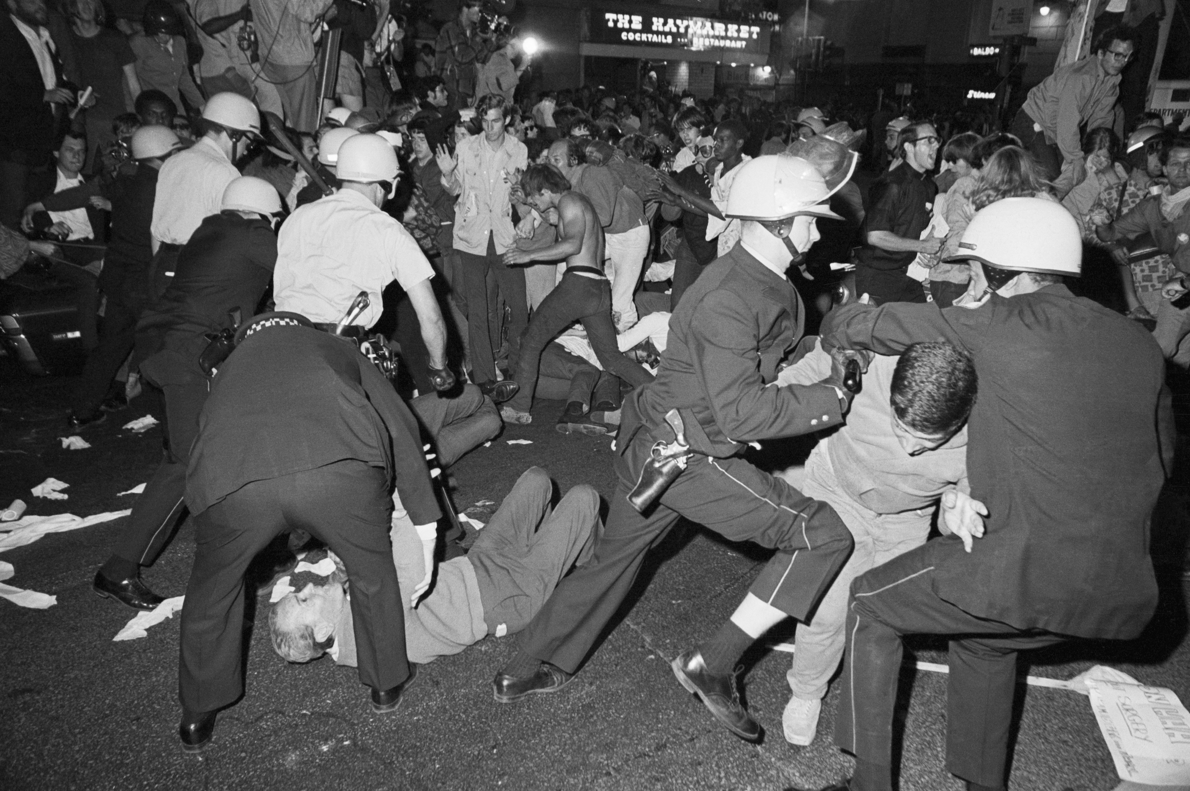Police and demonstrators in a melee near the Conrad Hilton Hotel on Chicago's Michigan Avenue during the Democratic National Convention on Aug. 28, 1968