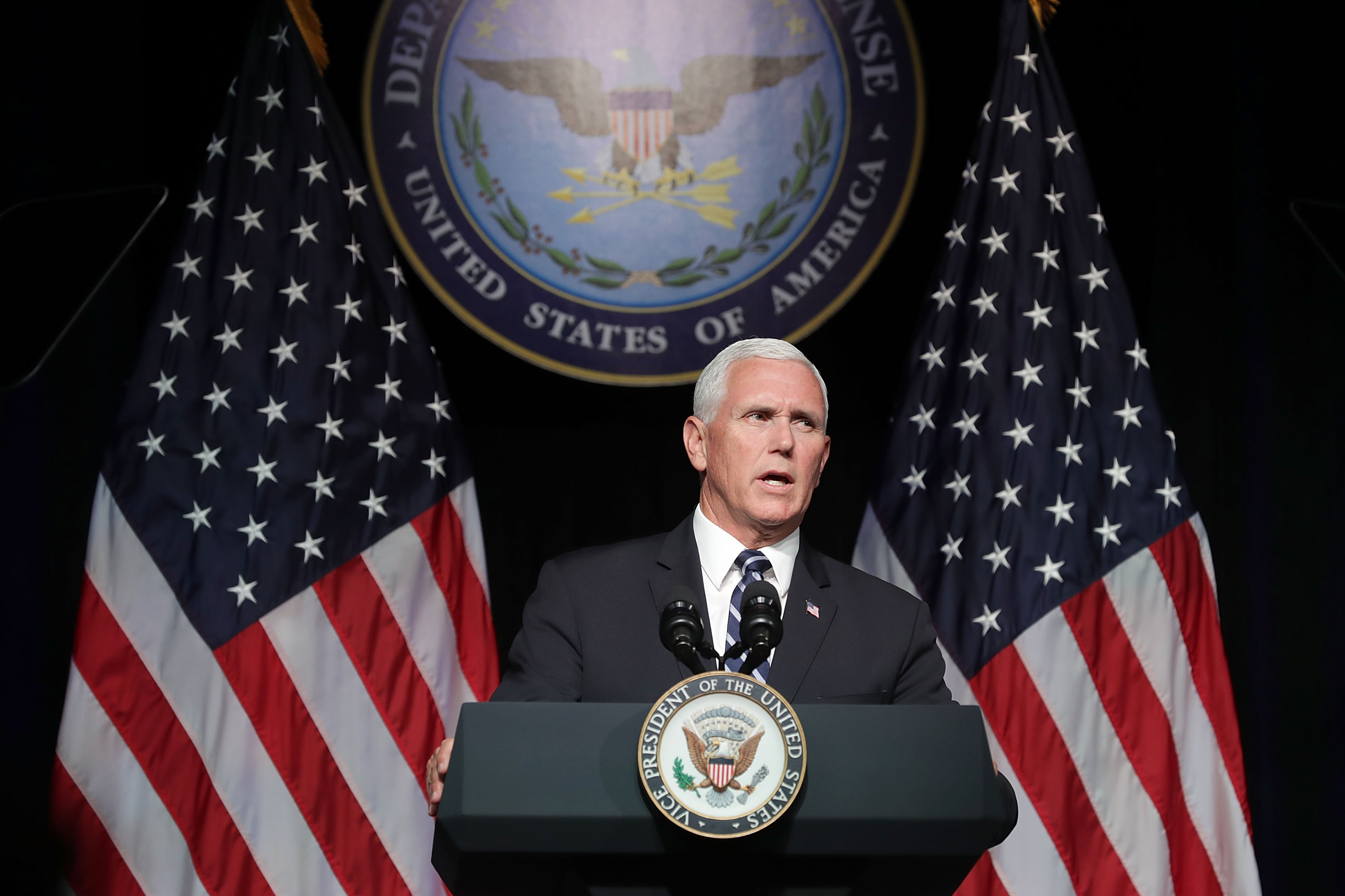 U.S. Vice President Mike Pence announces the Trump Administration's plan to create the U.S. Space Force by 2020 during a speech at the Pentagon August 9, 2018 in Arlington, Virginia.