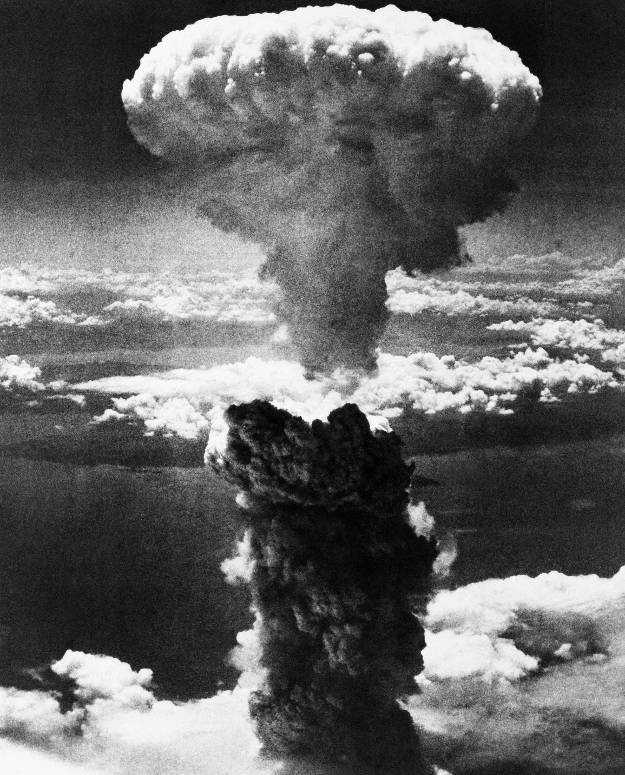 A mushroom cloud rises moments after the atomic bomb was dropped on the Japanese city of Nagasaki on Aug. 9, 1945, three days after the U.S. dropped an atomic bomb on Hiroshima.