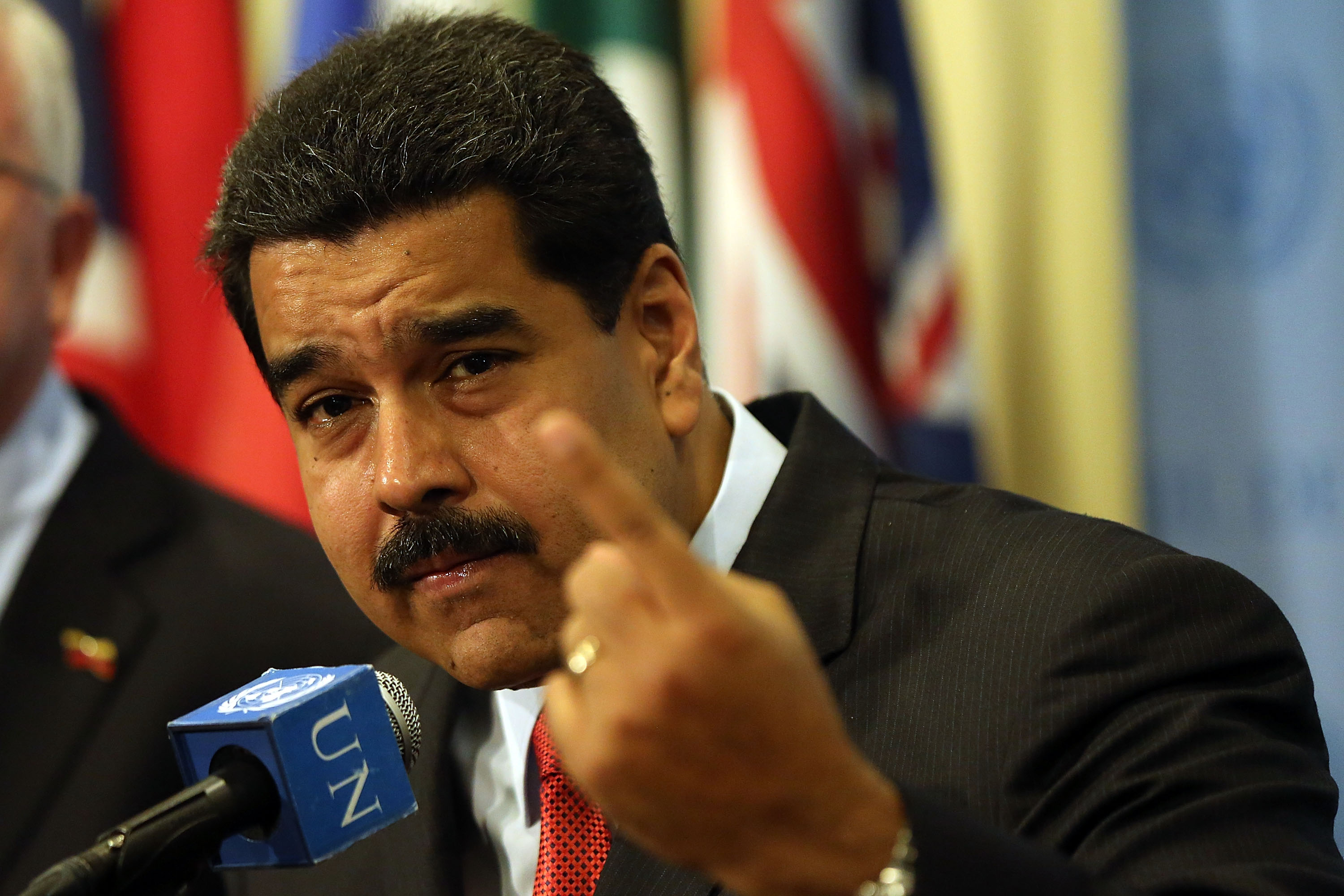 Venezuelan President Nicolas Maduro speaks to the media following a meeting with U.N. chief Ban Ki-moon at the United Nations (UN) headquarters in New York on July 28, 2015 in New York City.