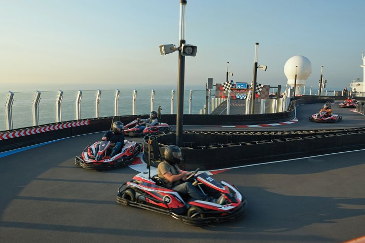 A go-kart track on the Norwegian Bliss cruise ship