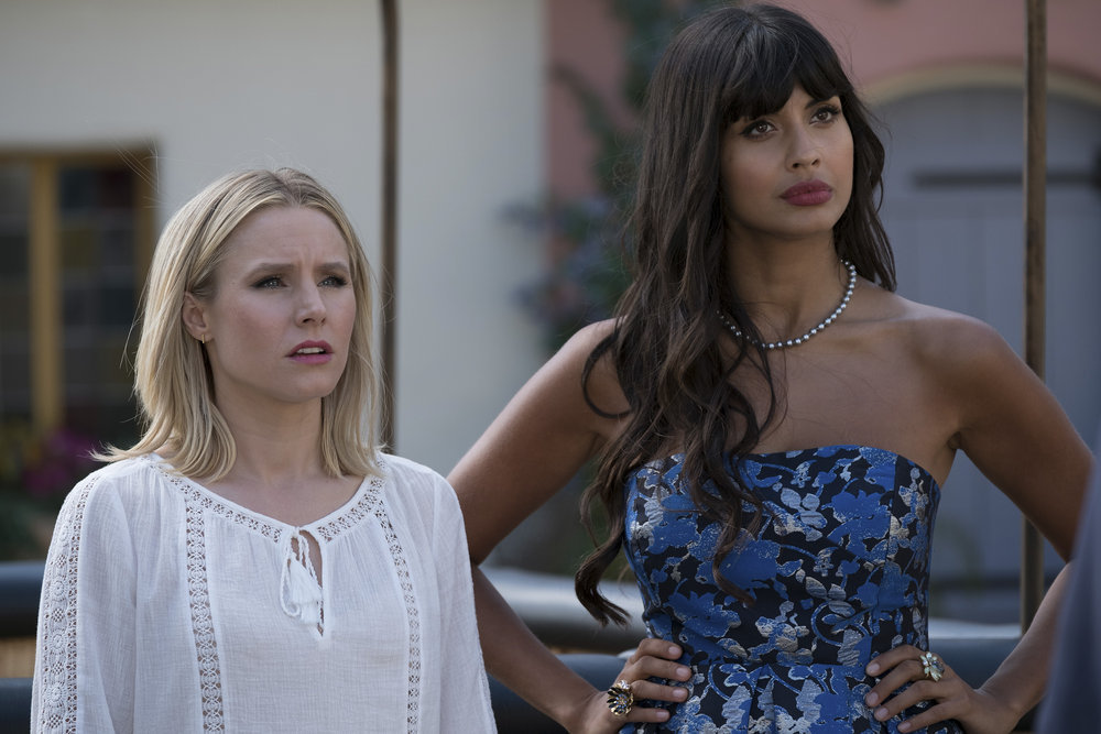 Kristen Bell and Jameela Jamil in The Good Place