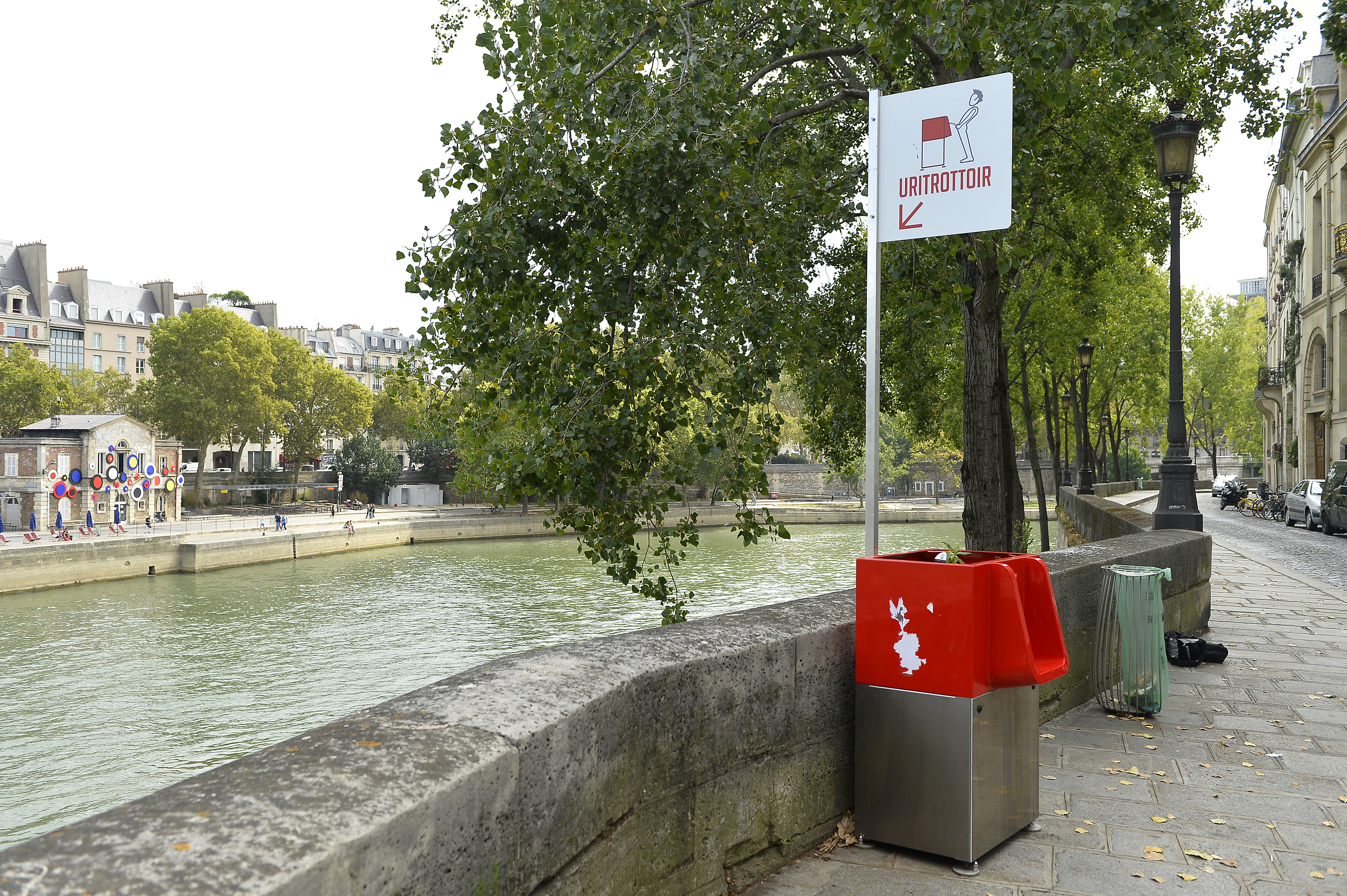 A view of a local public urinal on Ile Saint Louis along the river Seine on August 14, 2018 in Paris, France. The eco-friendly Uritrottoir public urinals are have caused controversy among local residents who have asked Paris City Hall to remove them.  (Photo by Aurelien Meunier/Getty Images)